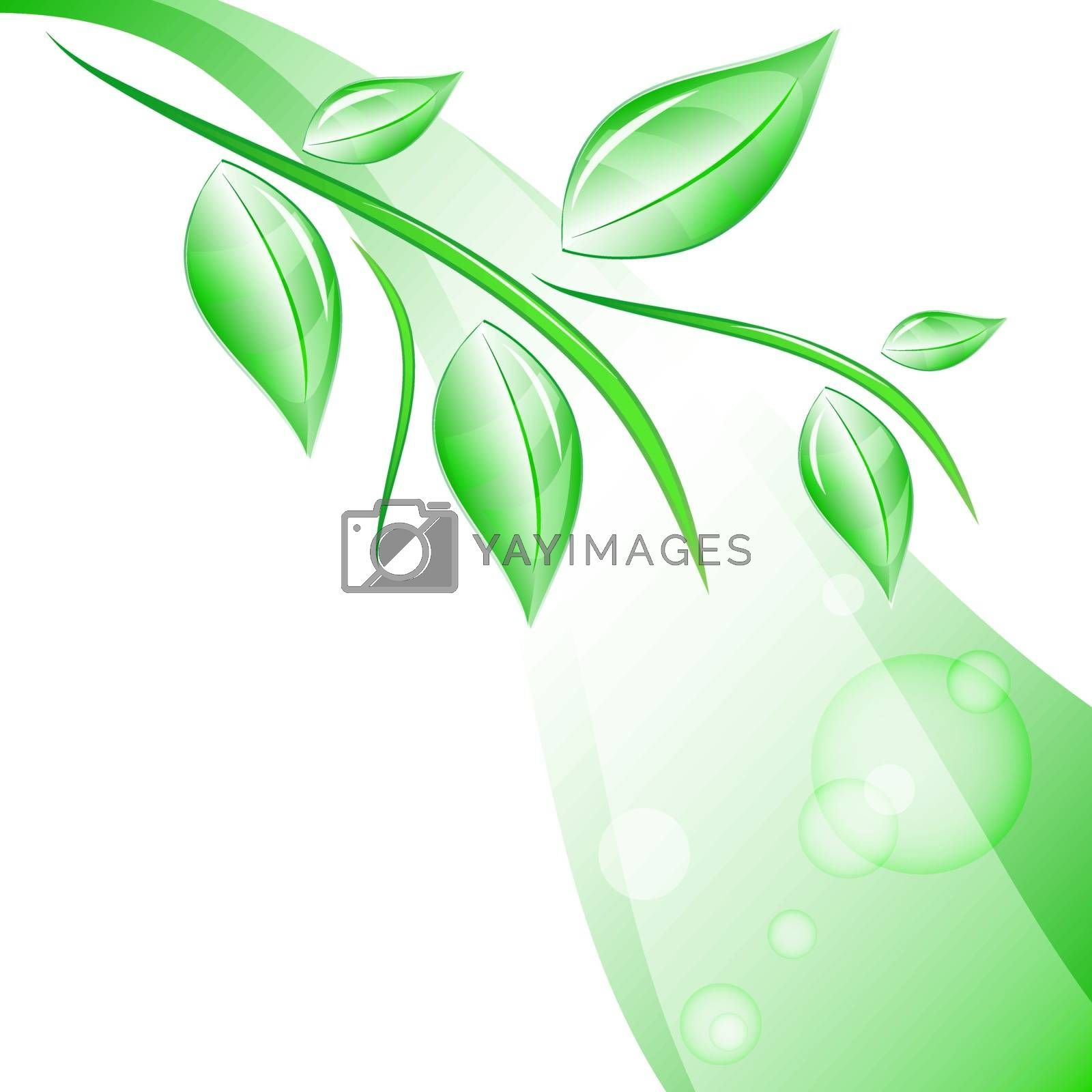 vector branch with leaves in the background with highlights