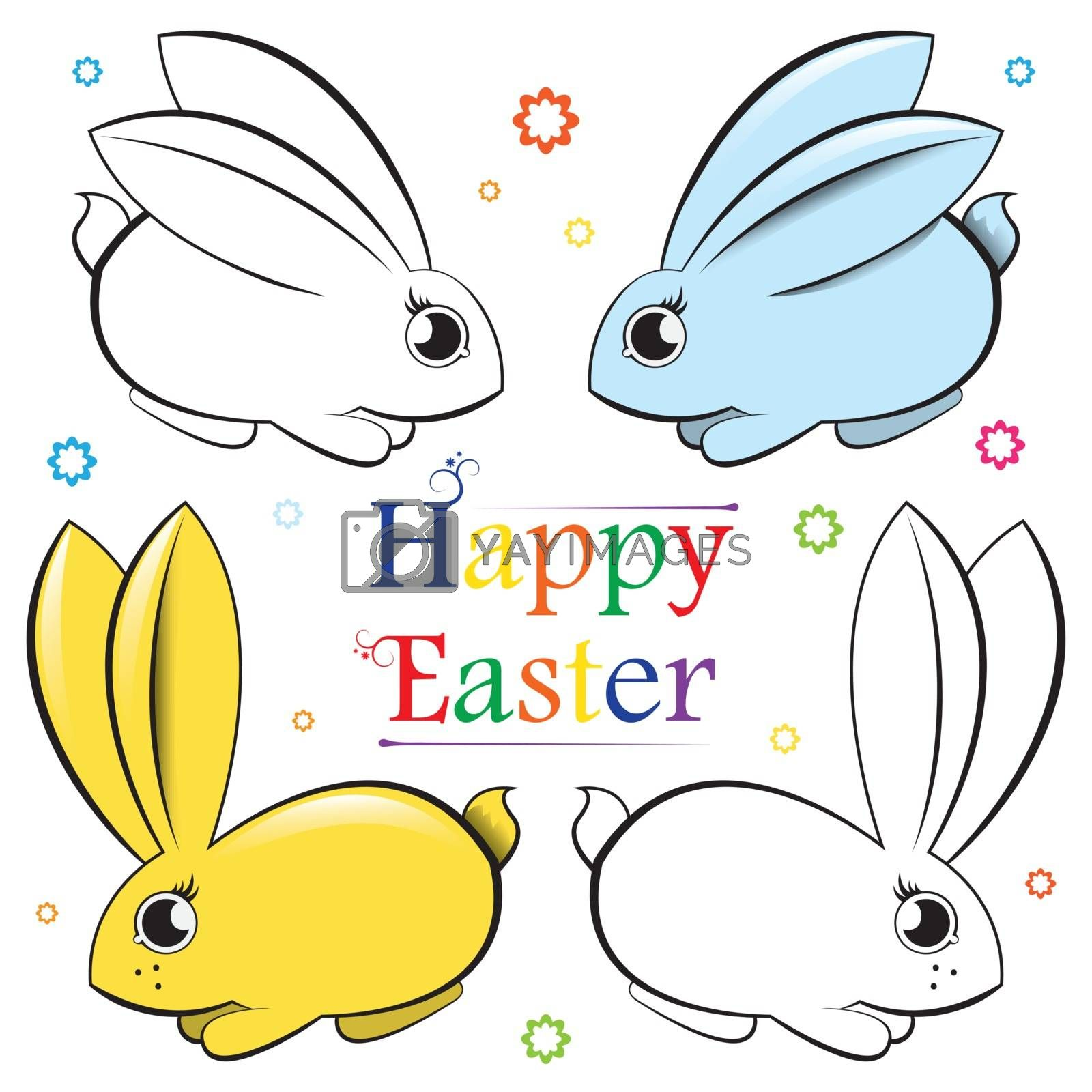 Happy Easter. Vector set of rabbits. Contour and painted