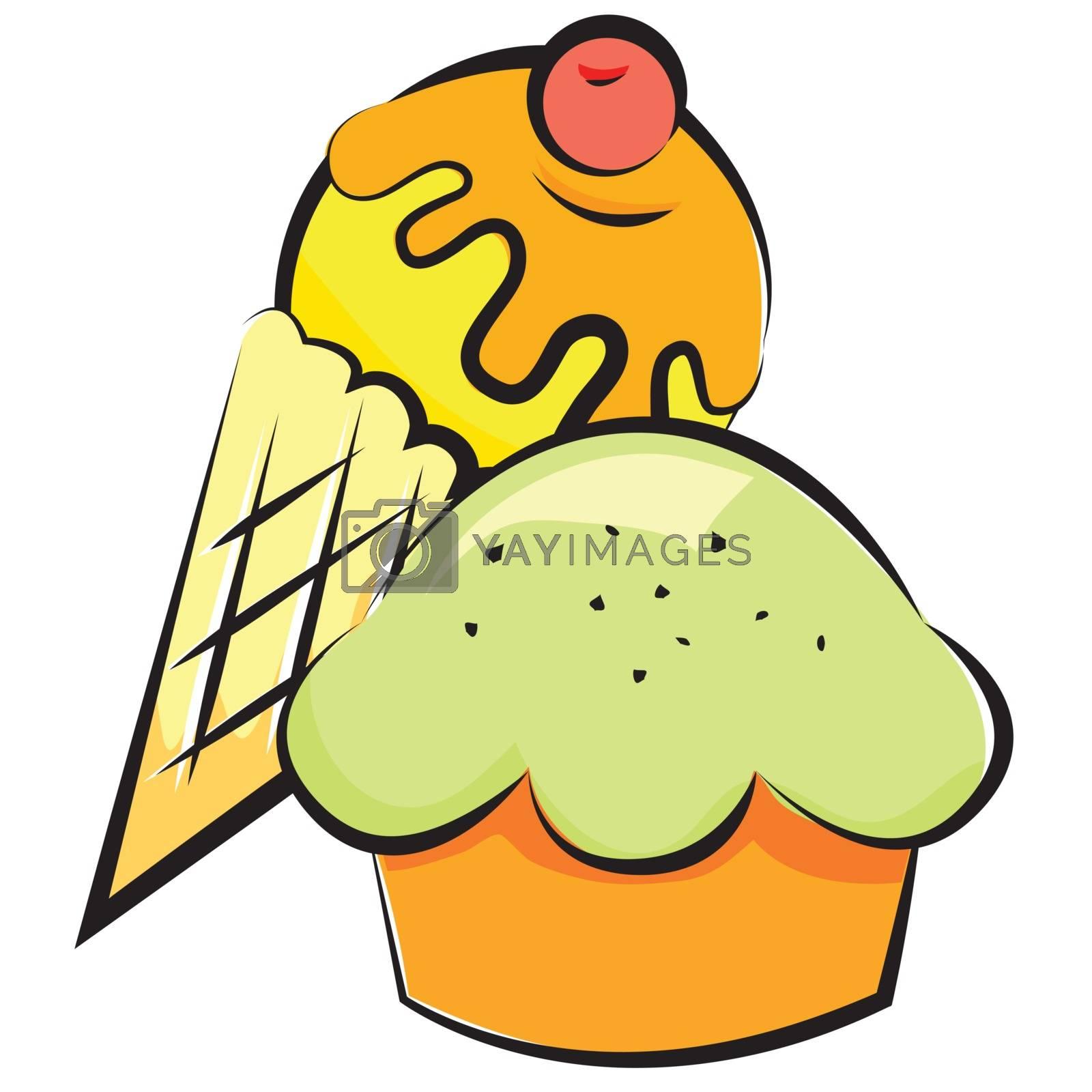 Vector  illustration. dessert. Retro style for design