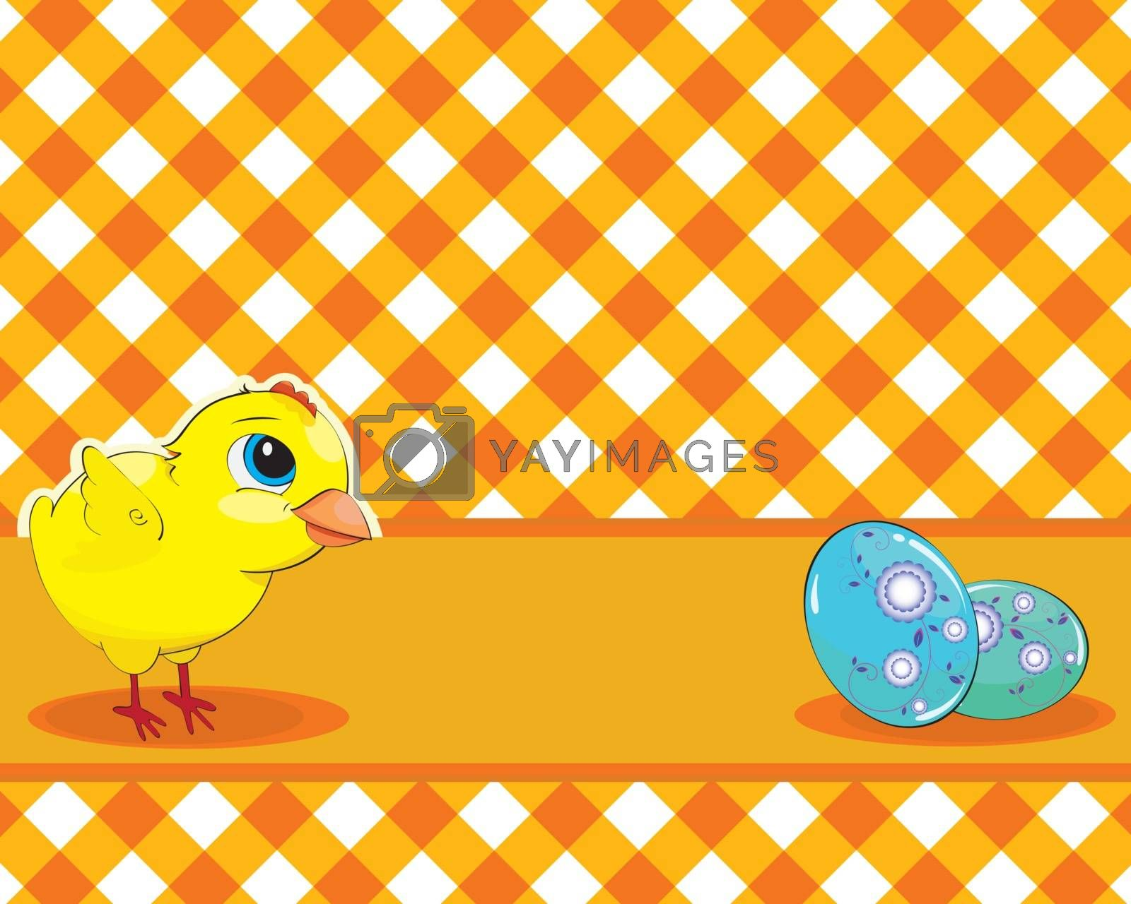 Vector illustration. Chicken and painted eggs on a checkered background. Easter