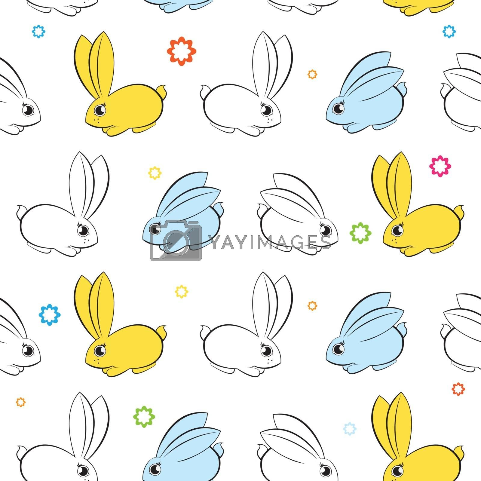Vector seamless wallpaper. Easter bunnies on a white background