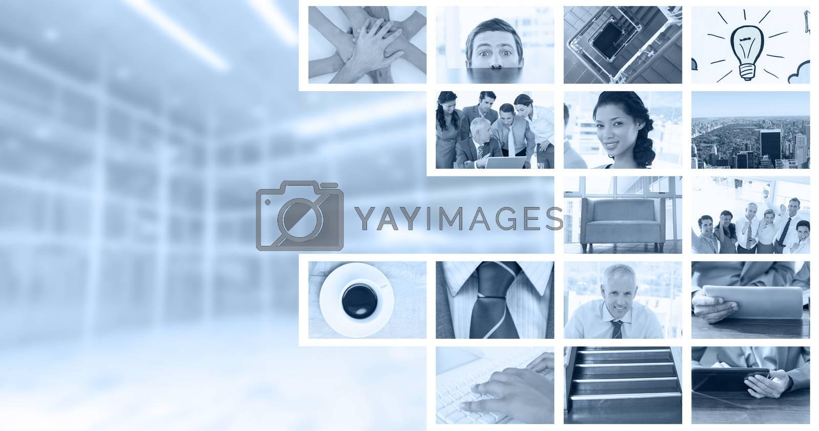 Royalty free image of Composite image of nervous businessman peeking over desk by Wavebreakmedia
