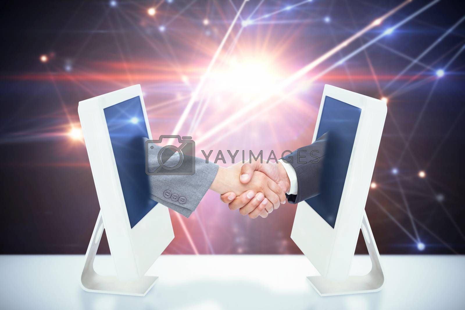 Handshake between two business people against lines on glowing background