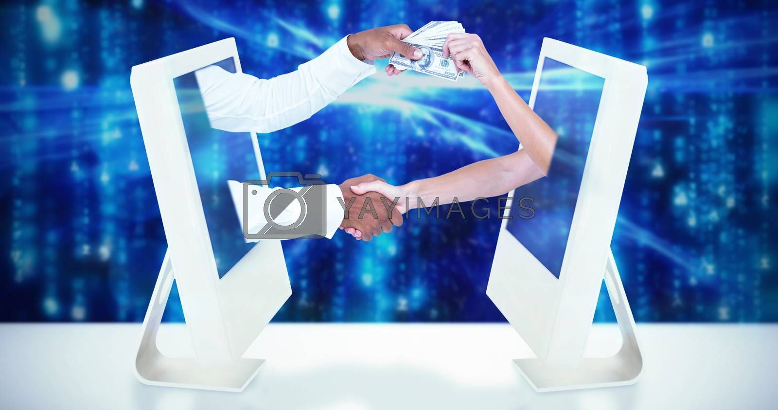 Royalty free image of Composite image of business people shaking hands and passing banknots by Wavebreakmedia