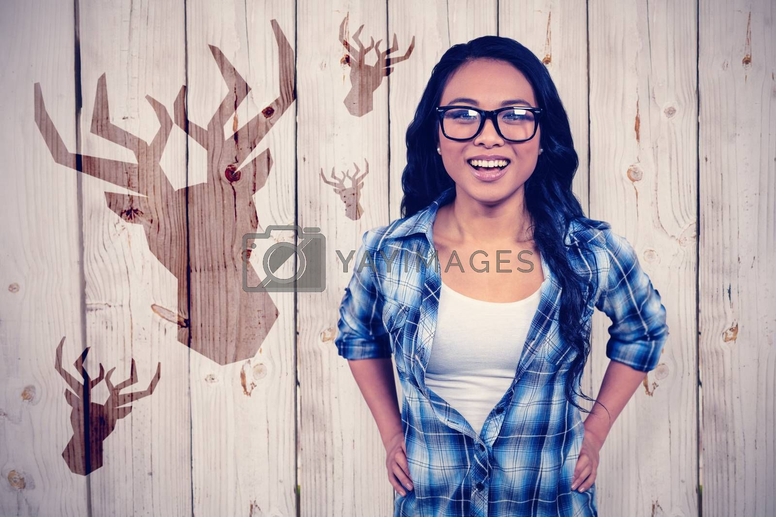 Asian woman smiling to the camera against white background with vignette