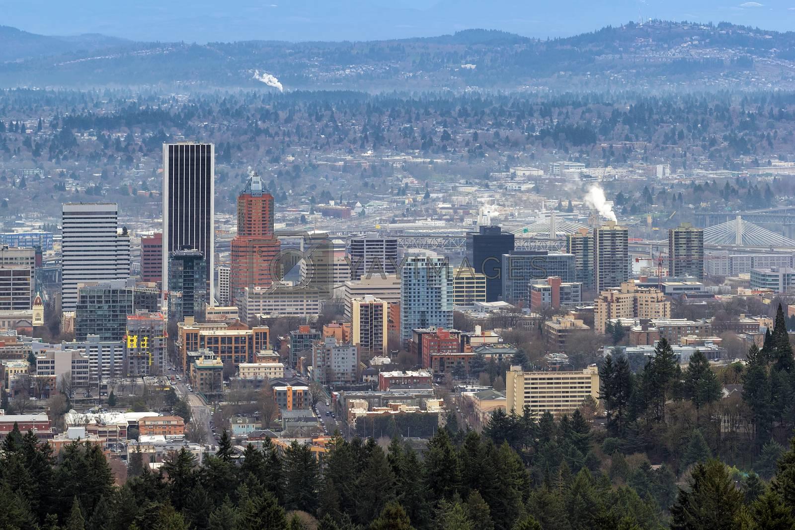 Portland Oregon Cityscape with Tilikum Crossing and Marquam Bridge