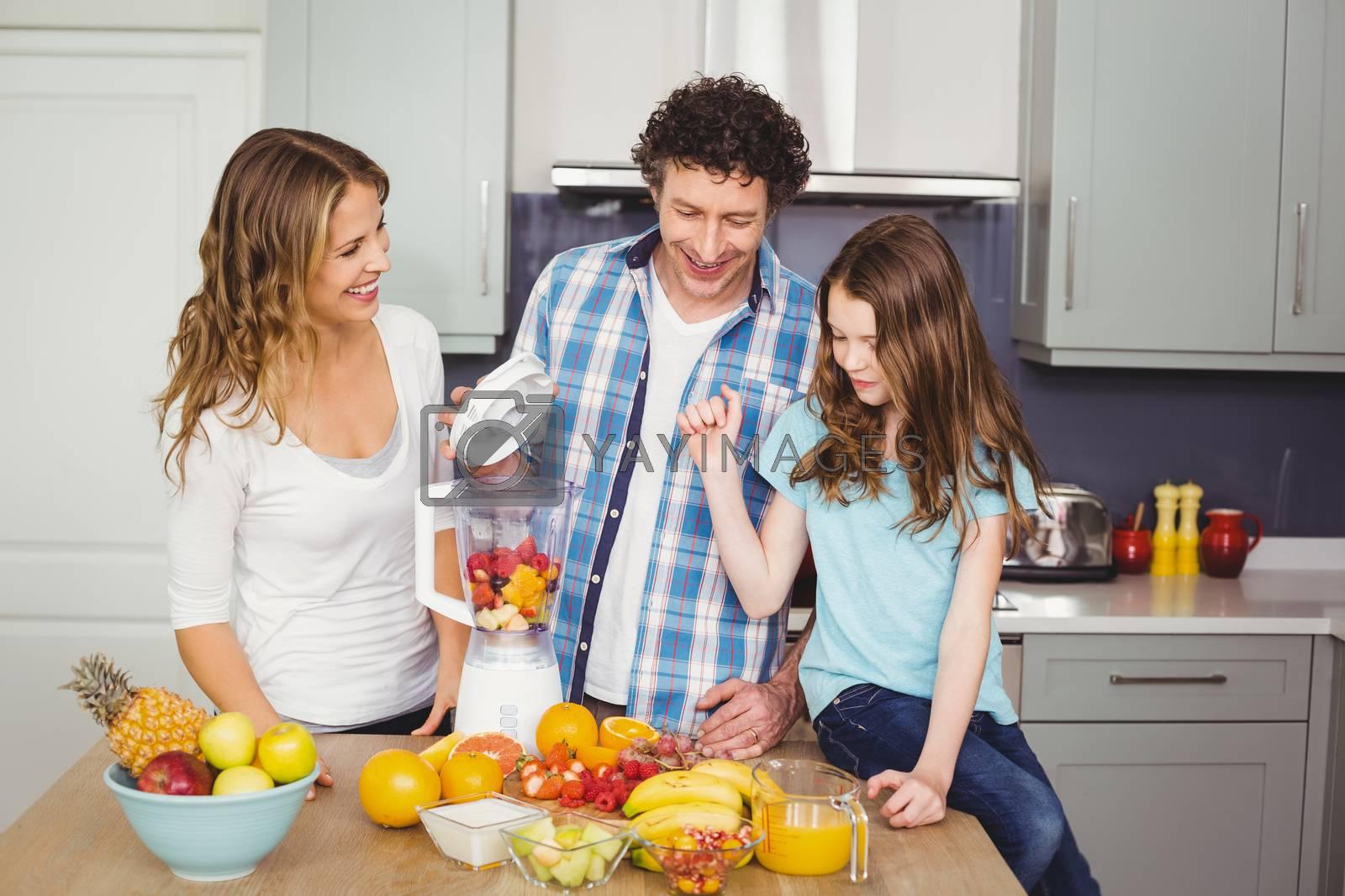 Smiling family preparing fruit juice  by Wavebreakmedia
