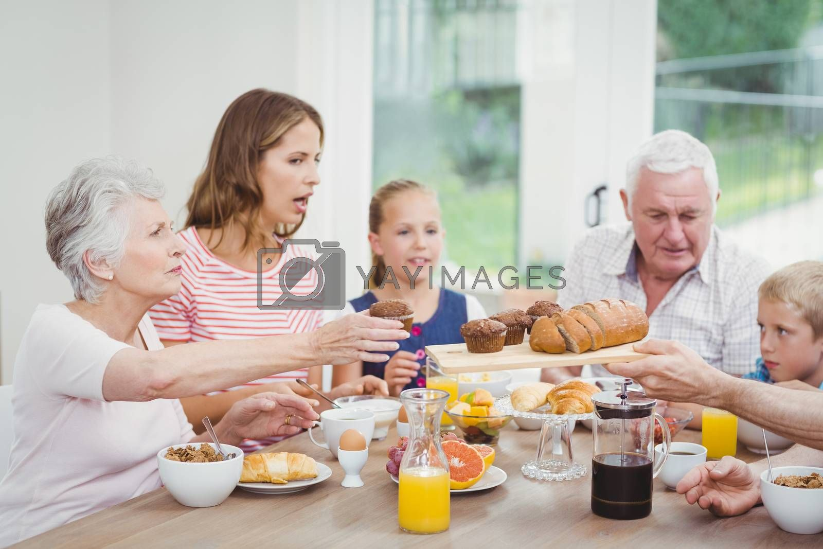 Multi-generation family having muffins during breakfast at home