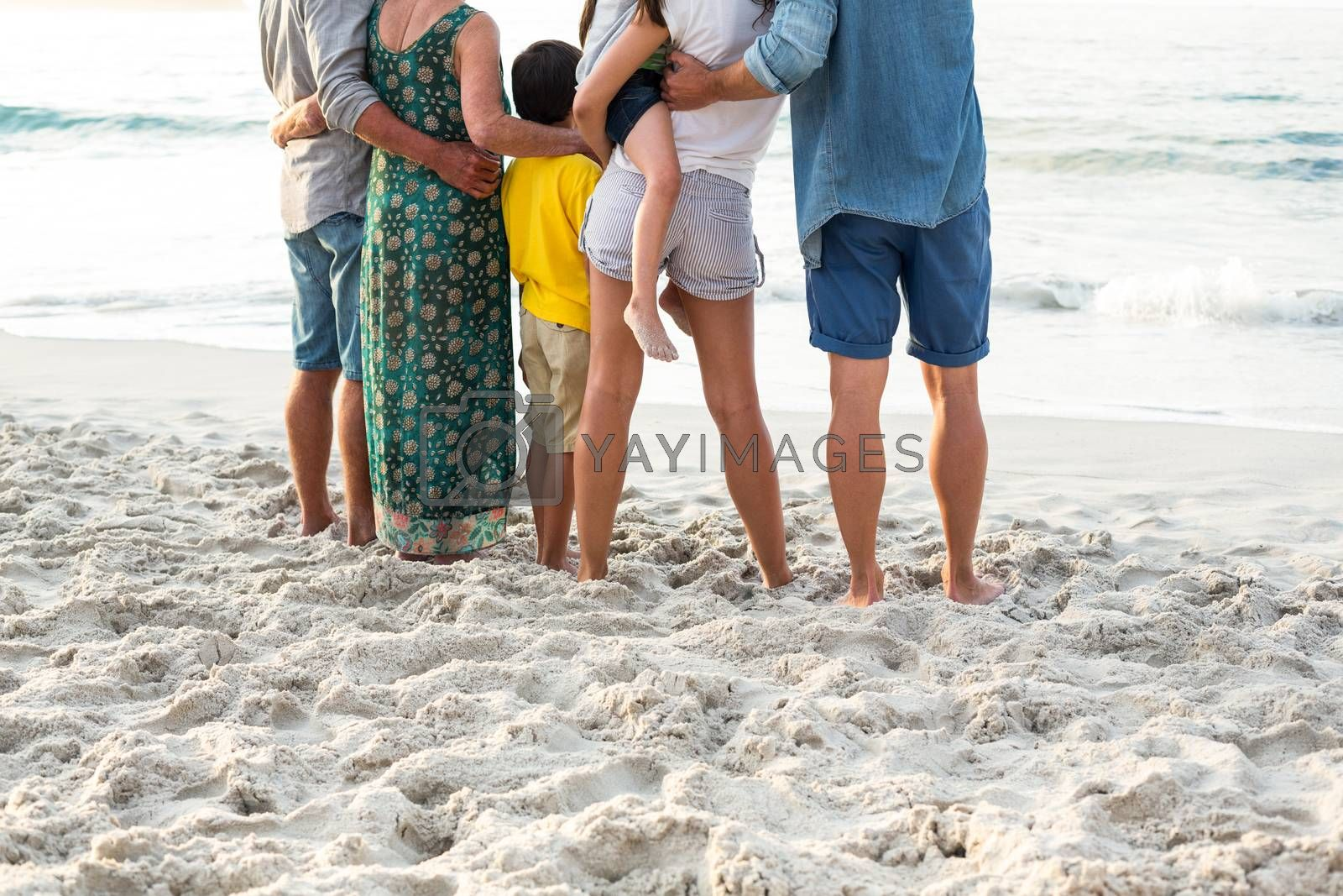 Royalty free image of Rear view of a happy family posing at the beach by Wavebreakmedia