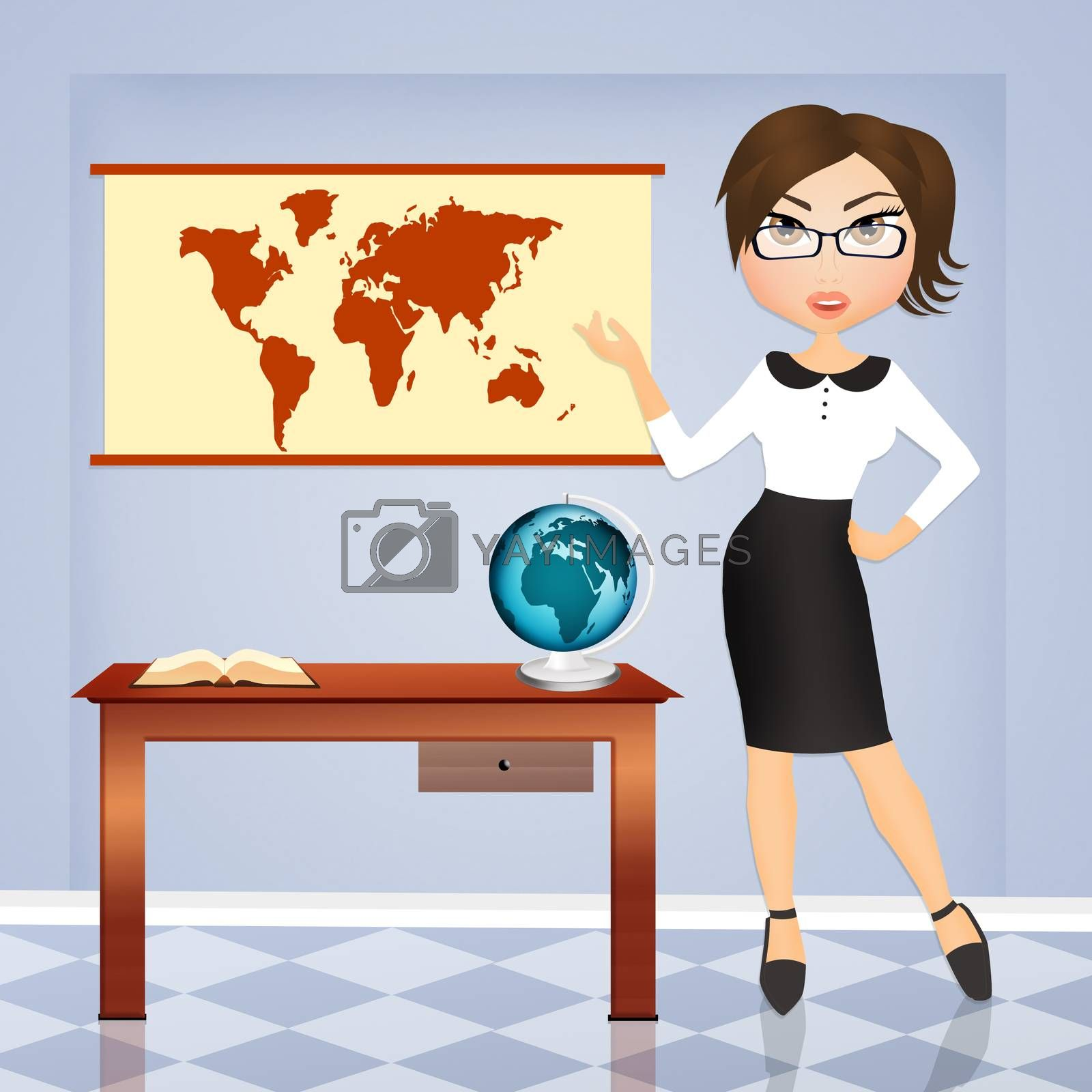 illustration of girl in the travel agency