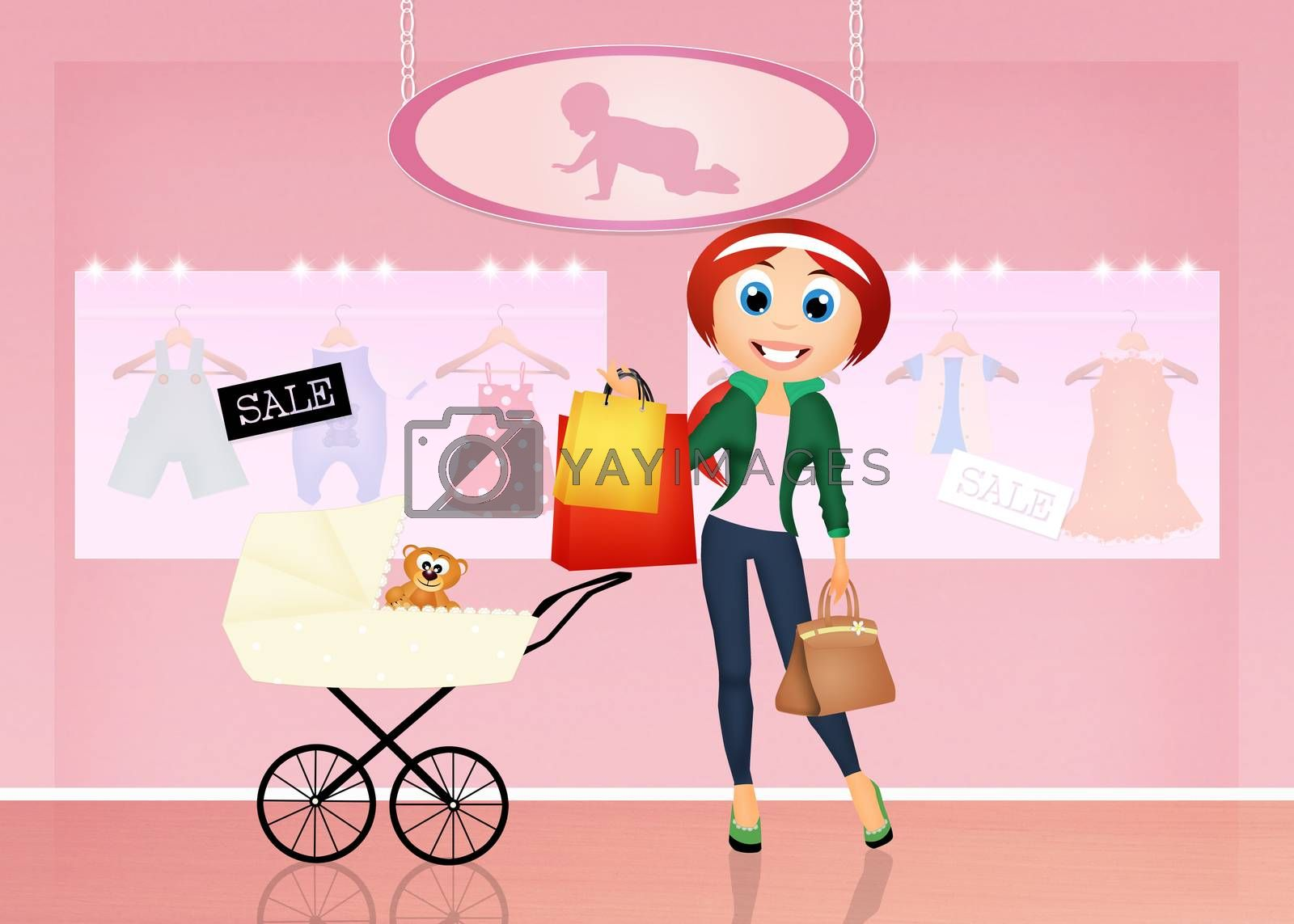 illustration of girl in the shop for babies