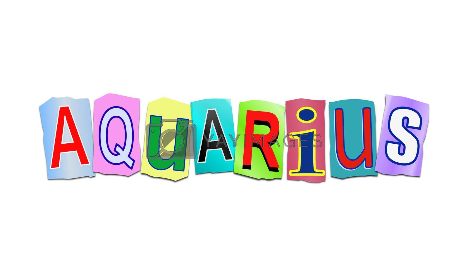 Illustration depicting a set of cut out printed letters arranged to form the word aquarius.
