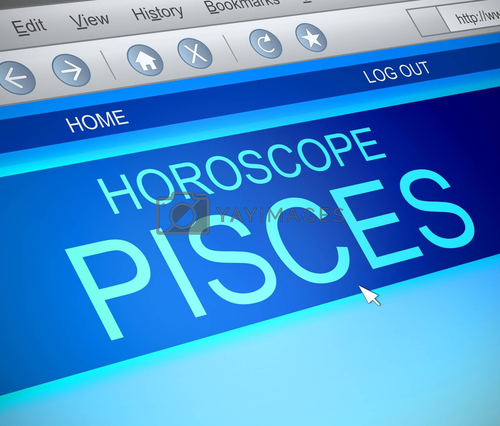 Illustration depicting a computer screen capture with a pisces concept.