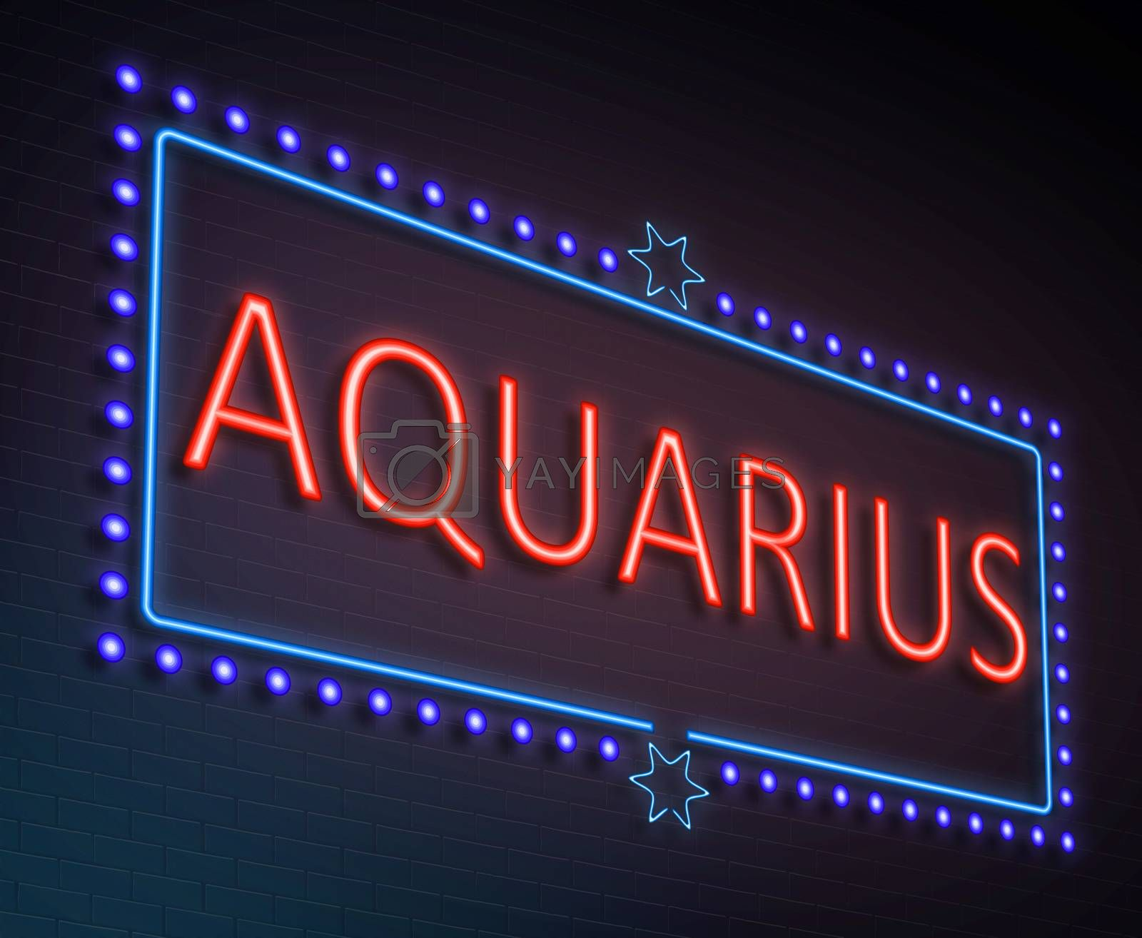 Illustration depicting an illuminated neon sign with an aquarius concept.