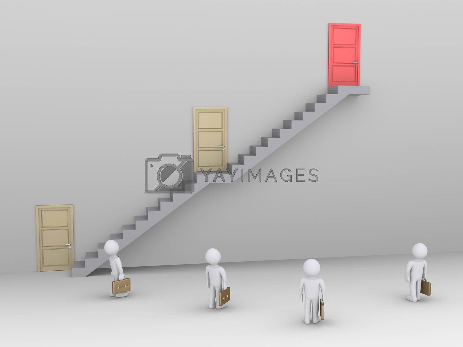 Businessmen are looking up at staircase with three doors