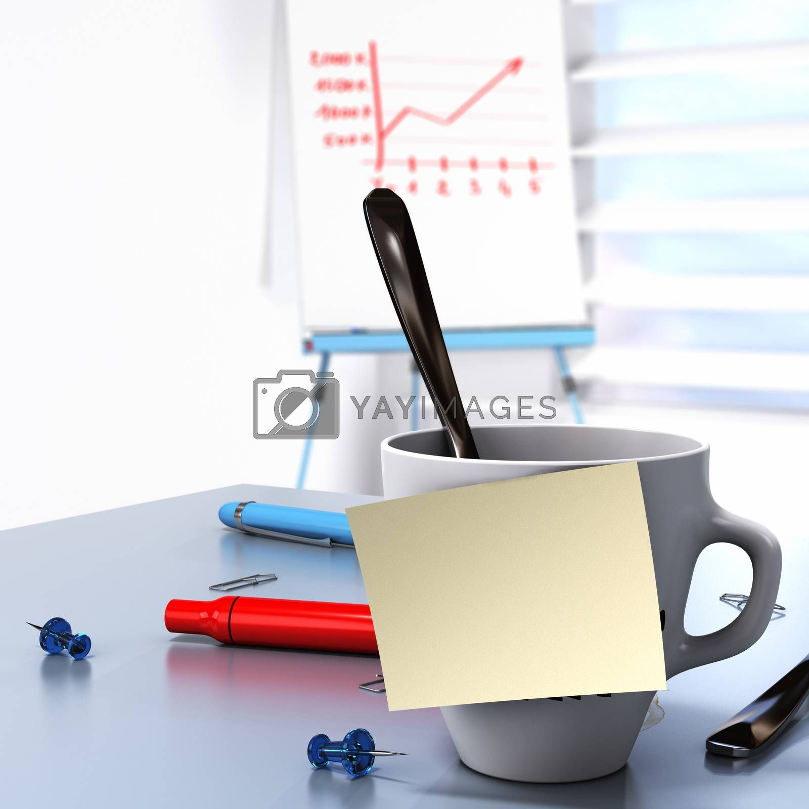 One mug with a blank yellow note fixed on it and a flipchart at the background conceptual image for Business communication