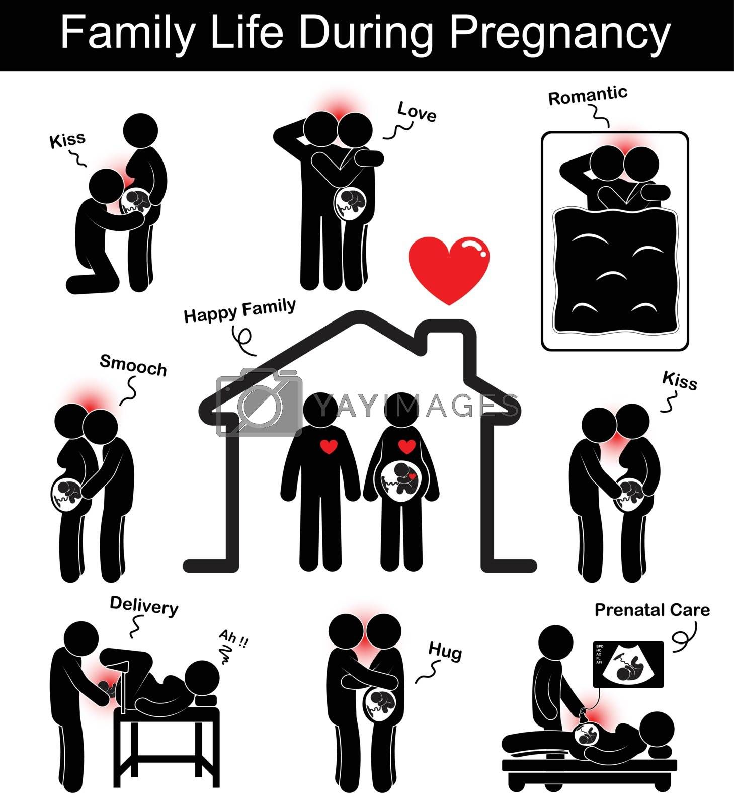 Family Life During Pregnancy Husband And Wife With Different Gesture Kiss Smooch Smack Hug Love Romance