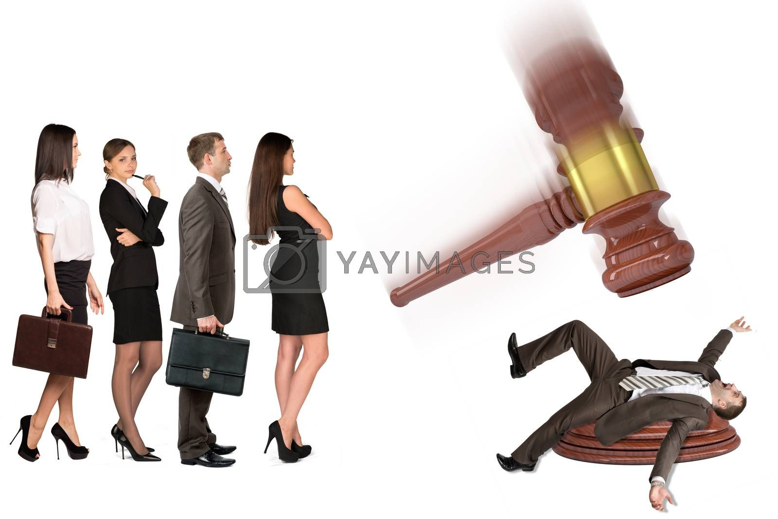 Inscribed gavel hitting scared businessman and crowd of waiting people, isolated on white background. Justice concept