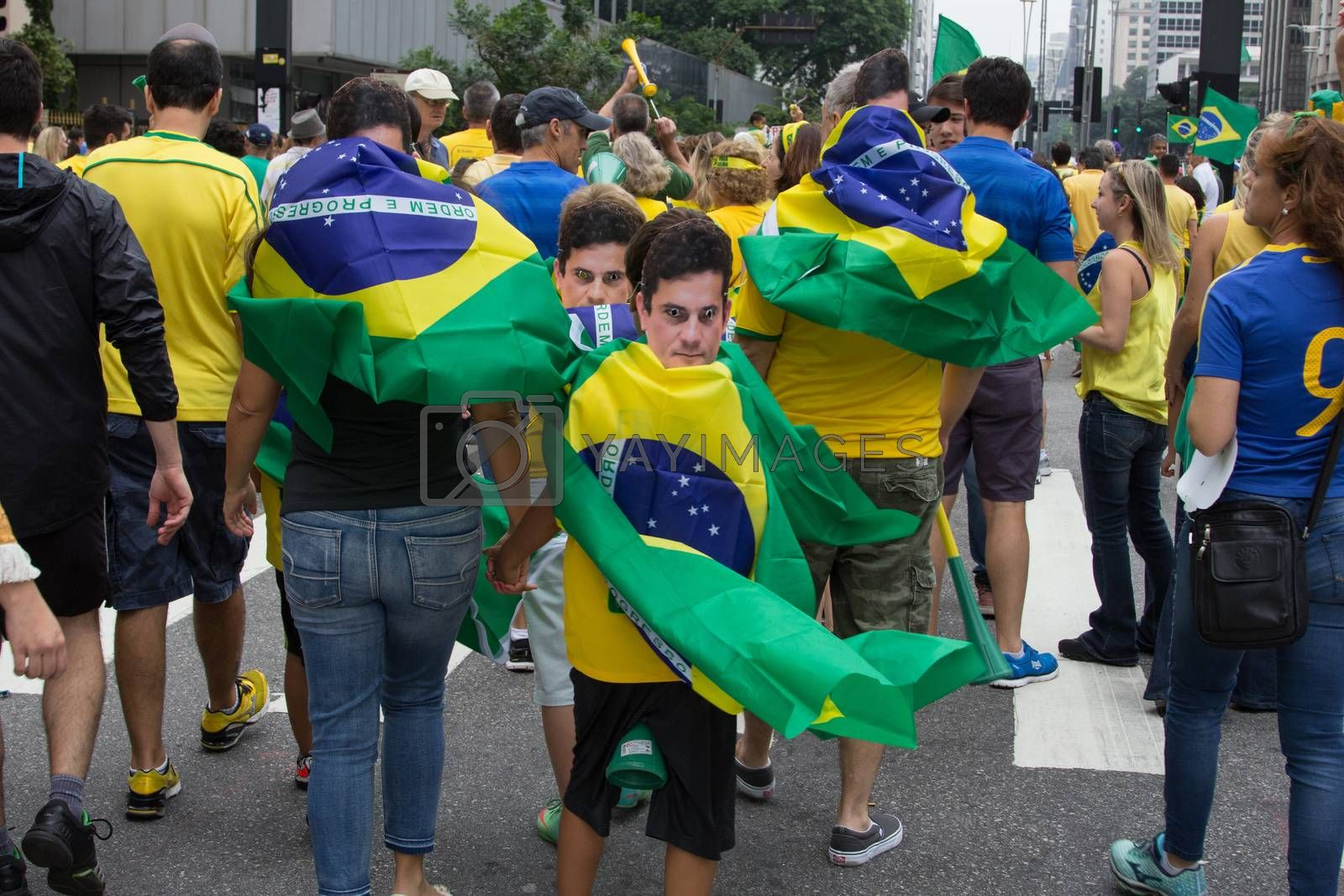 Sao Paulo Brazil March 13, 2016: An unidentified group of people