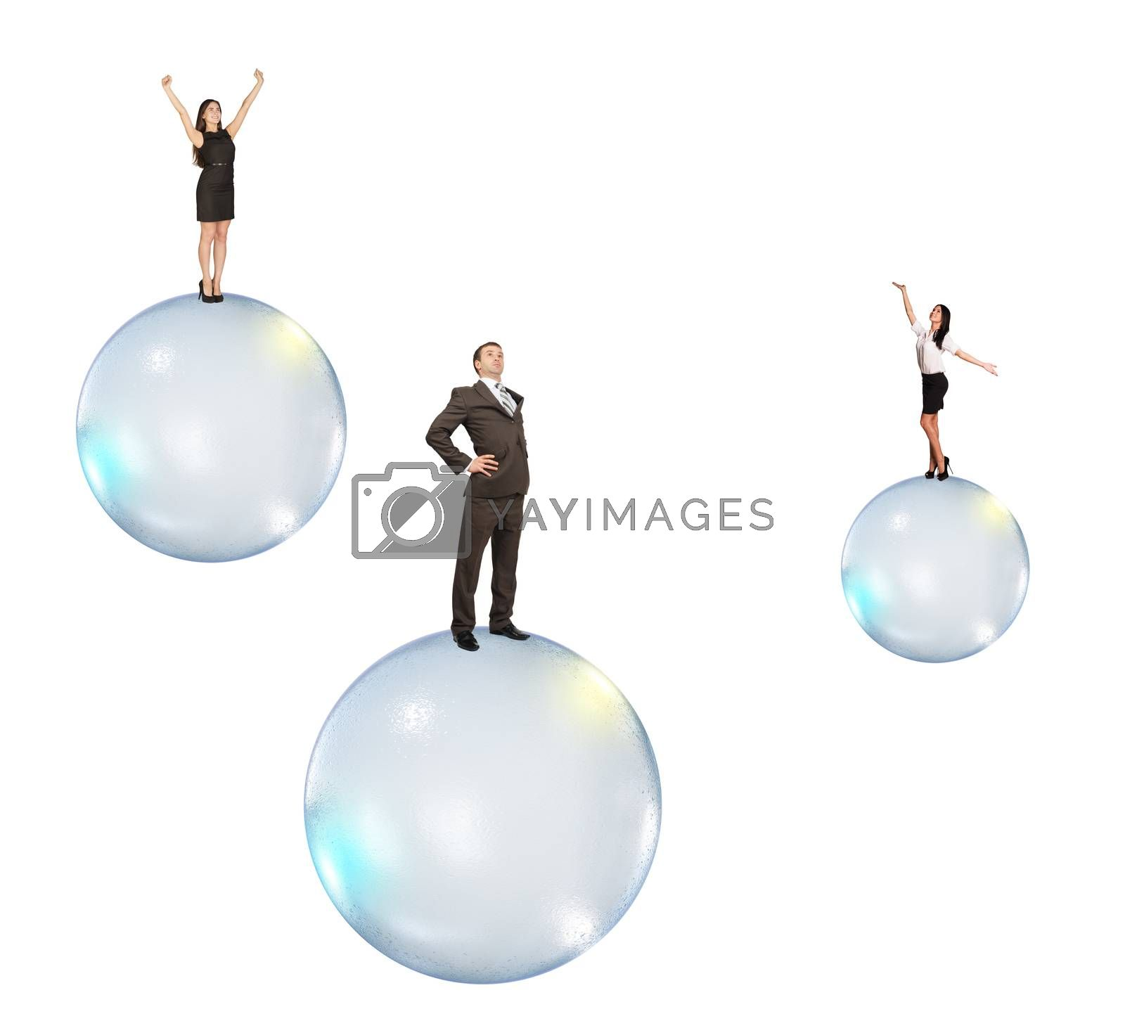 Set of business people flying on bubbles isolated on white background