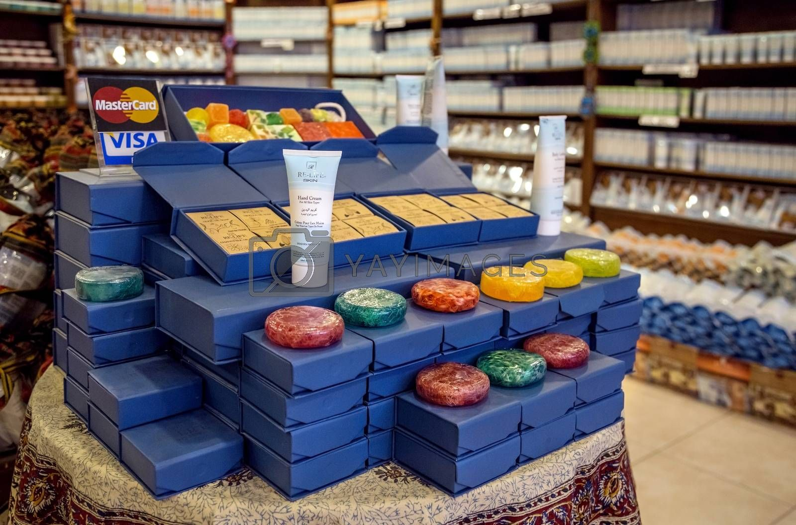 Madaba, Jordan - October 27, 2015: Natural Dead Sea Cosmetics. Large assortment on storefront. In the original packaging.