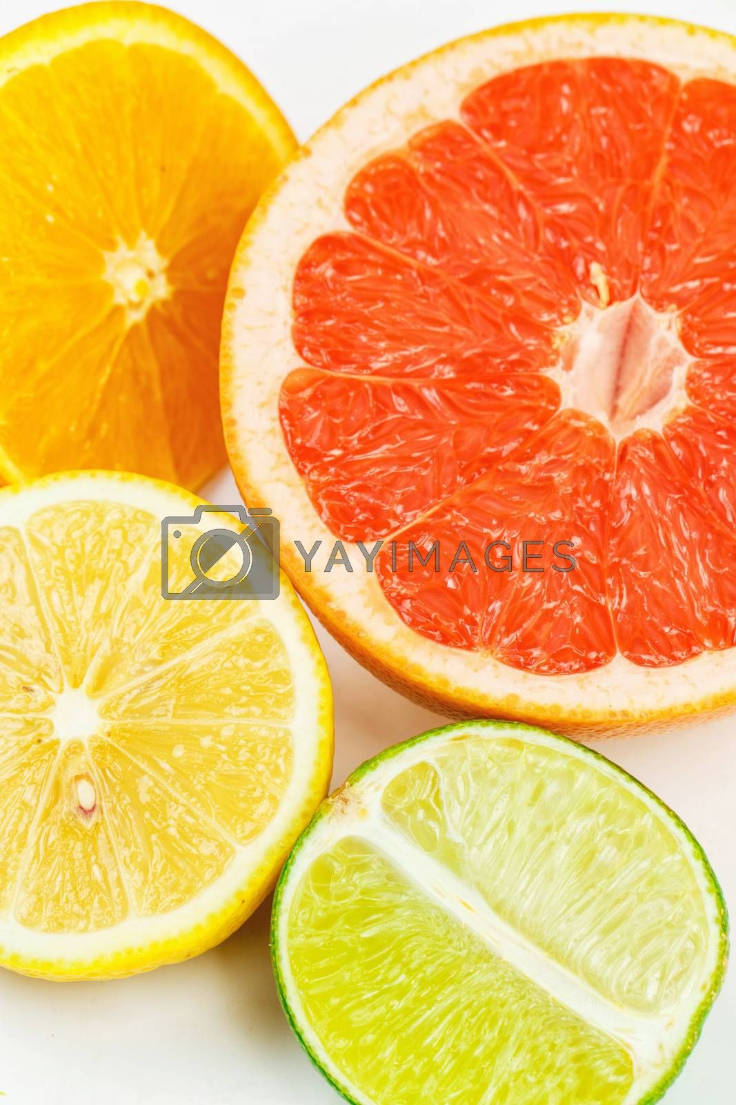 Background from citrus fruits isolated on white