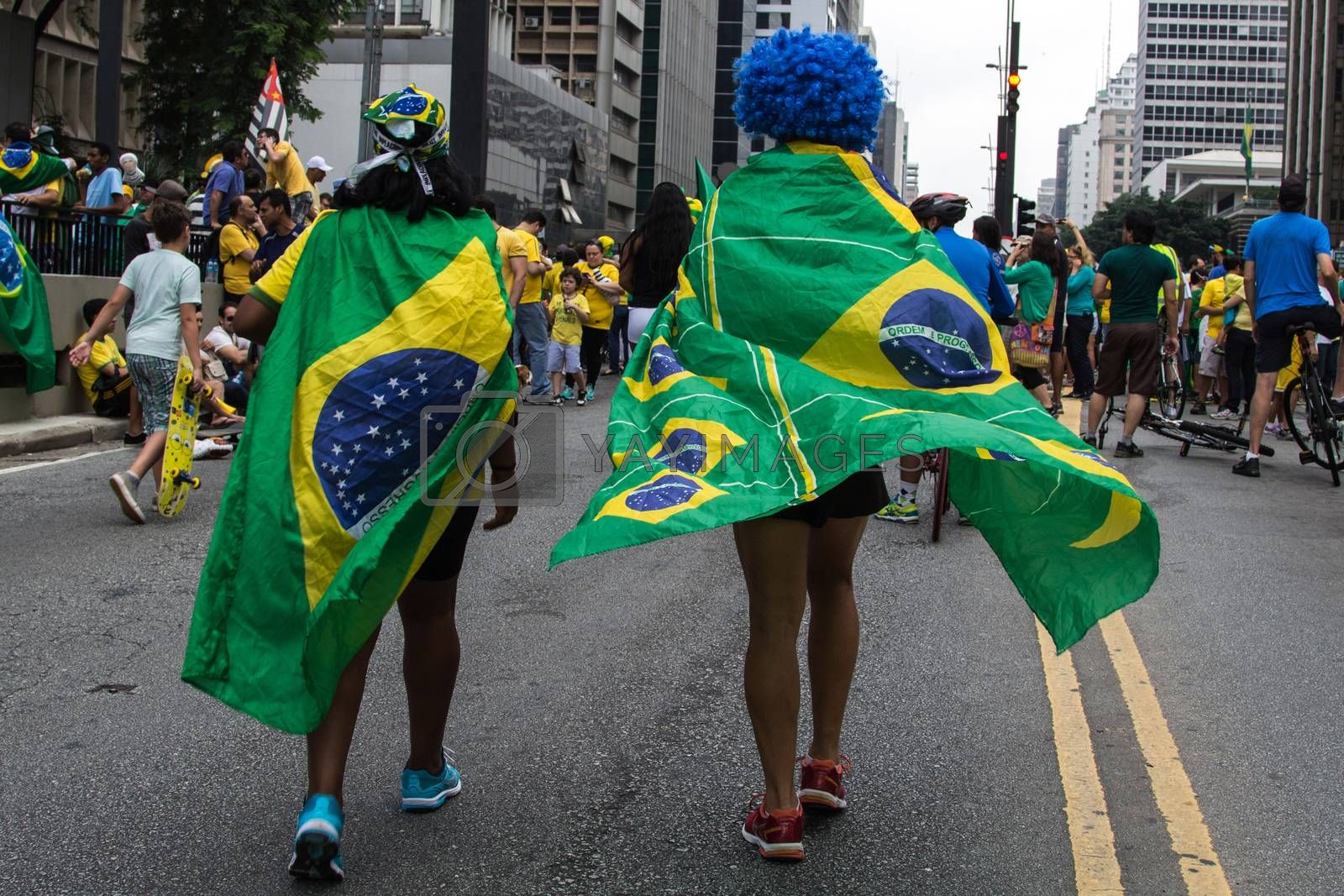 Sao Paulo Brazil March 13, 2016: One unidentified group of people in the biggest protest against federal government corruption in Sao Paulo.