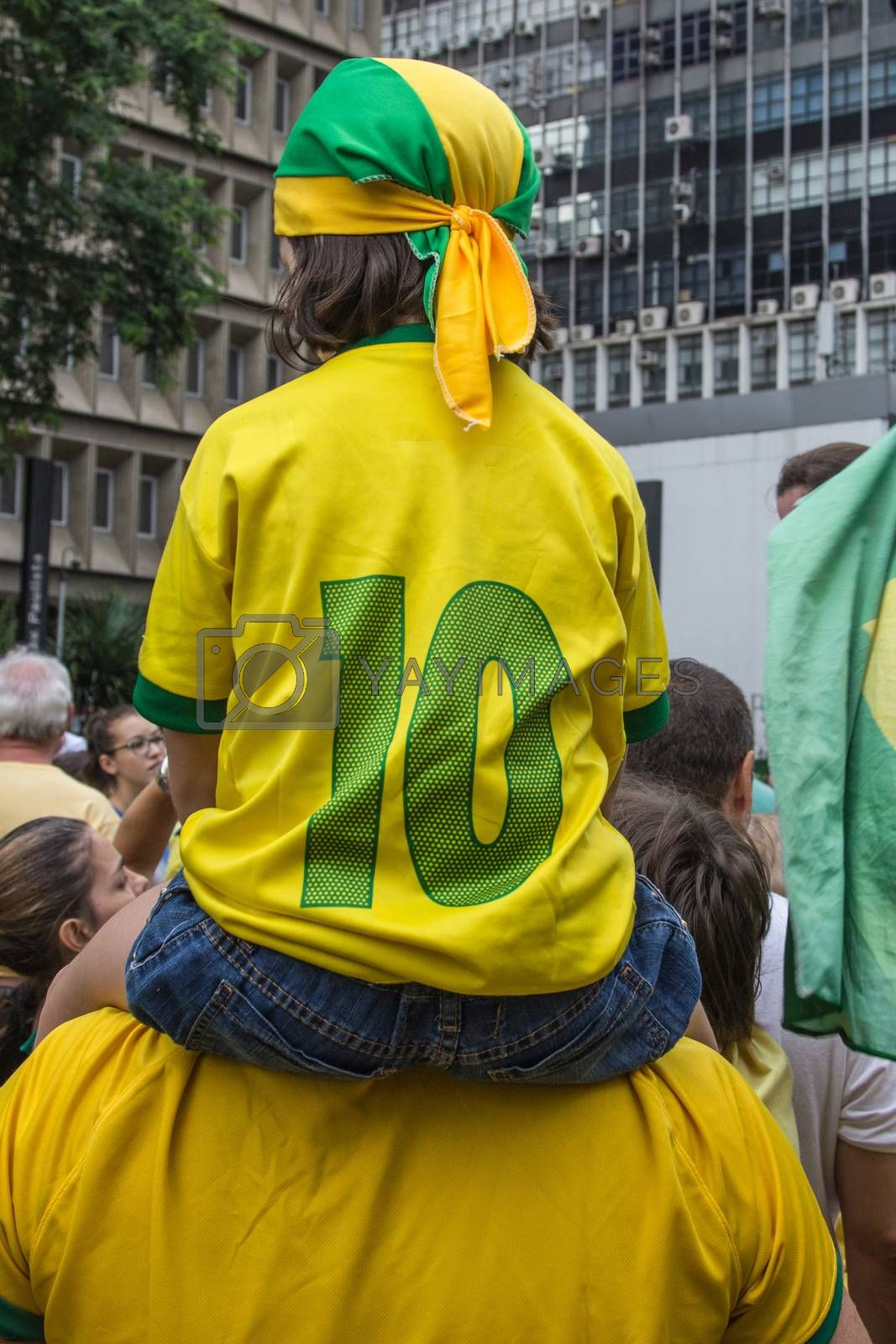 Sao Paulo Brazil March 13, 2016: One unidentified girl in the biggest protest against federal government corruption in Sao Paulo.