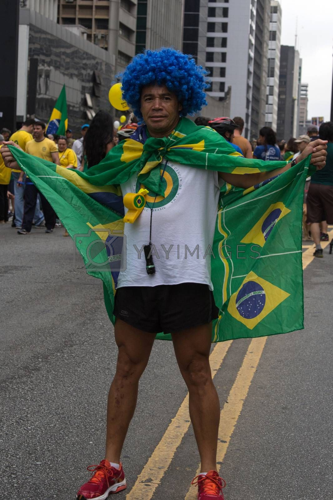 Sao Paulo Brazil March 13, 2016: One unidentified man in the biggest protest against federal government corruption in Sao Paulo.
