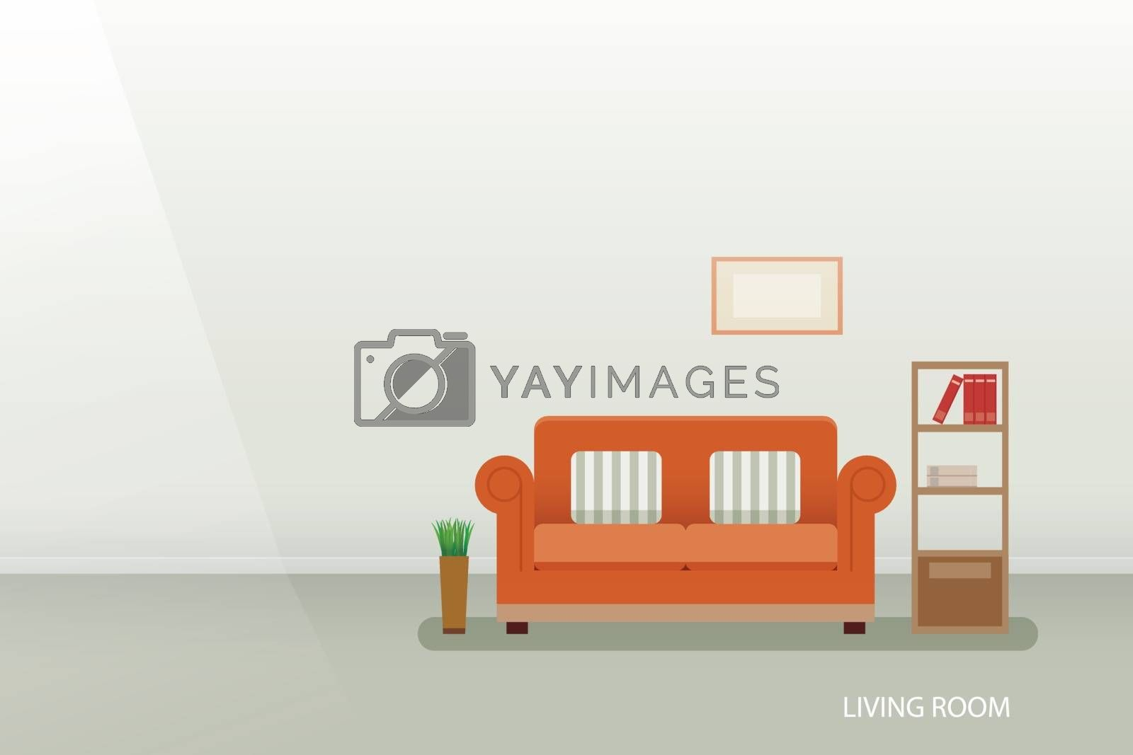 interior of a living room flat design