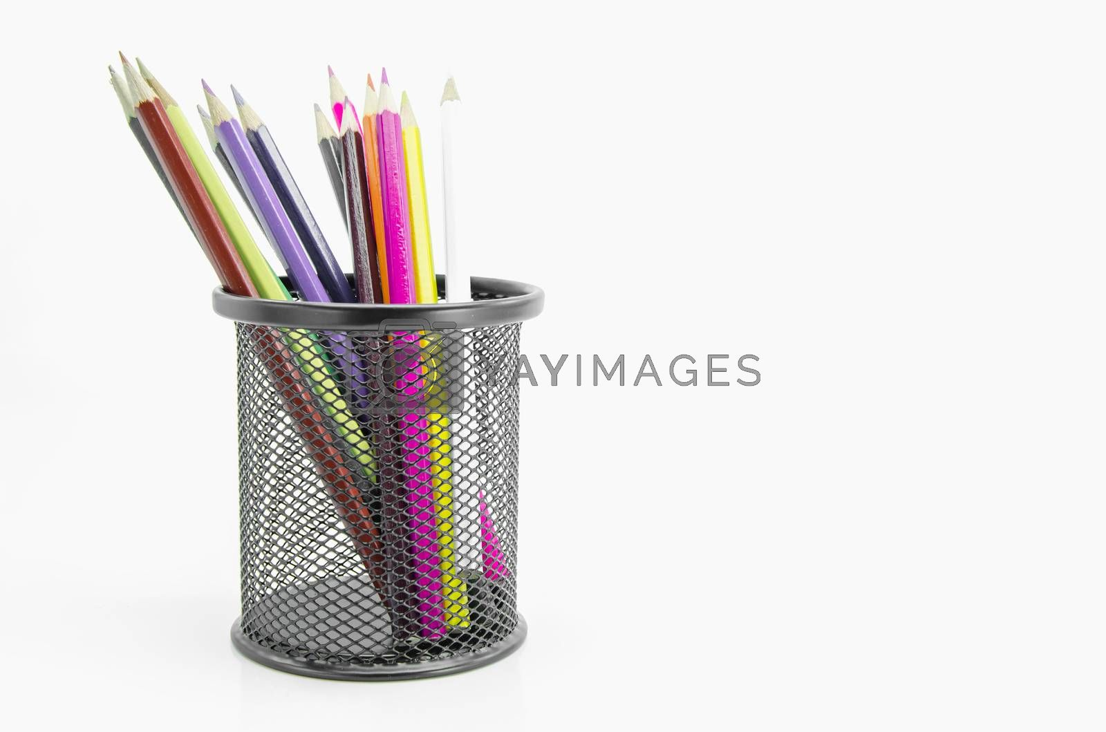 Stand of colorful pencils  on white background.