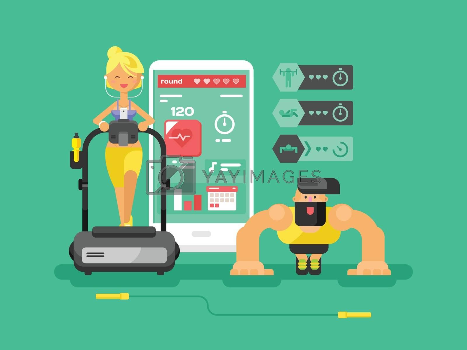Ffitness app man and woman flat design. Sport health, mobile interface, smart gadget technology, vector illustration