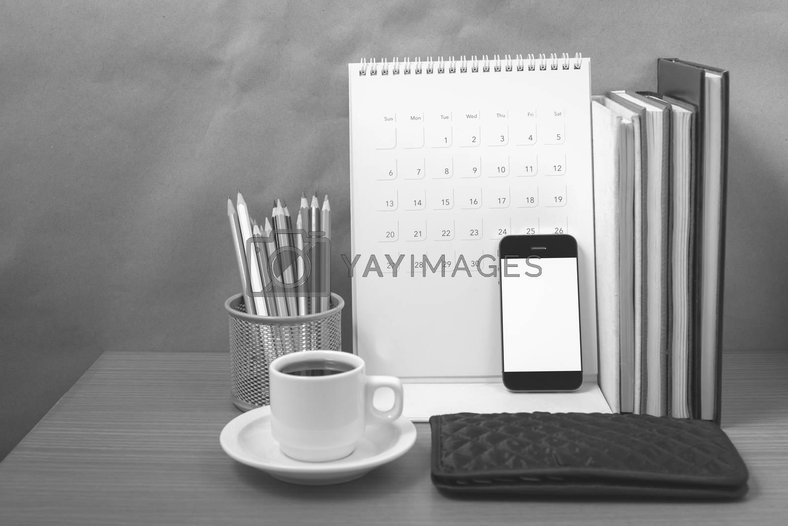 office desk : coffee with phone,wallet,calendar,color pencil box by Nisakorn Neera