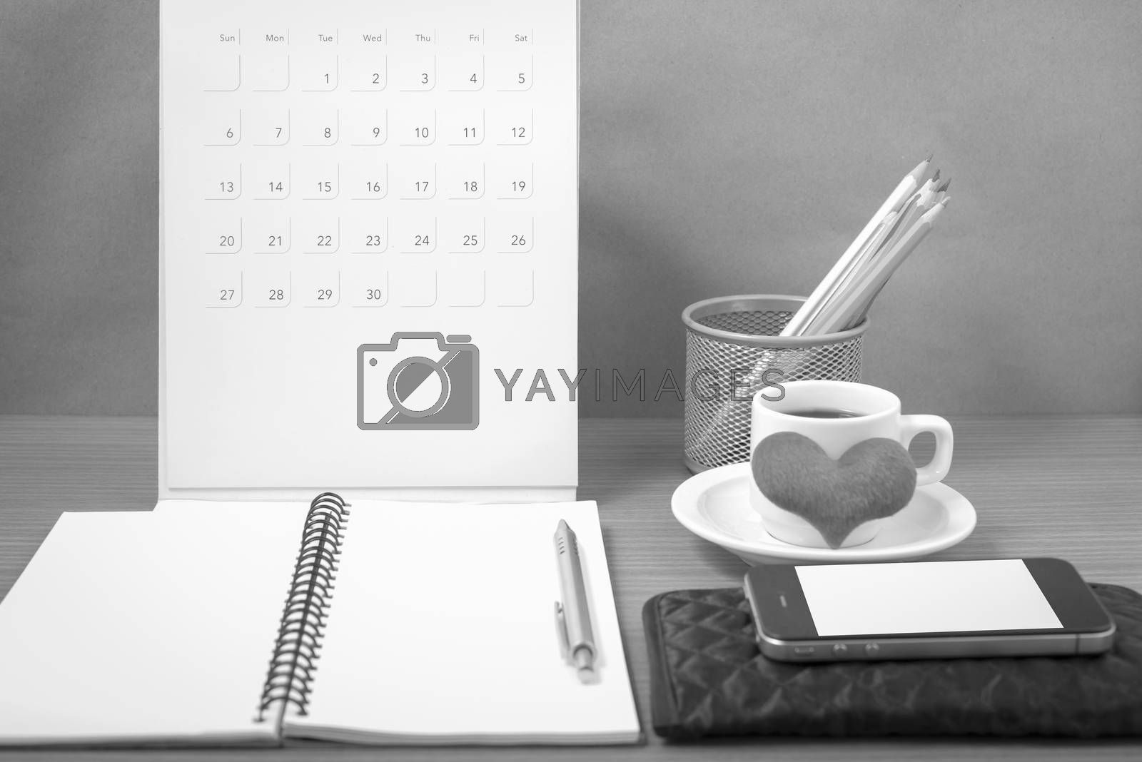 office desk : coffee with phone,wallet,calendar,heart,color penc by Nisakorn Neera
