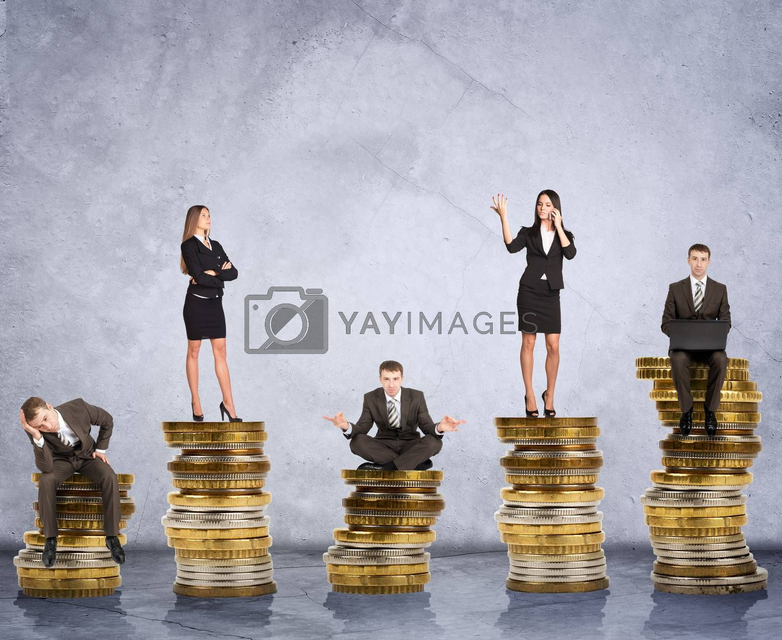 Business people doing different things on coins on grey background, business concept