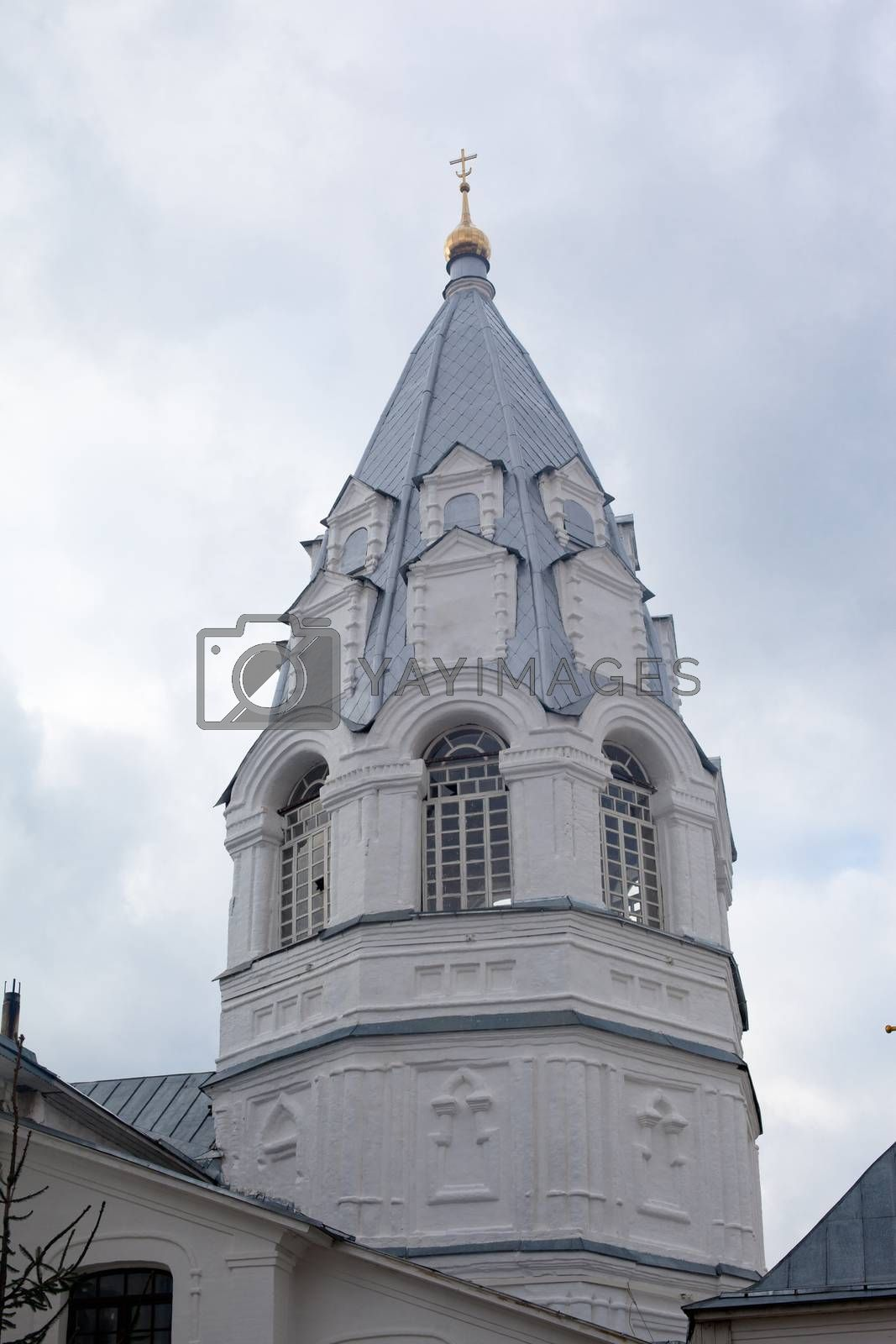 White old russian orthodox bell tower
