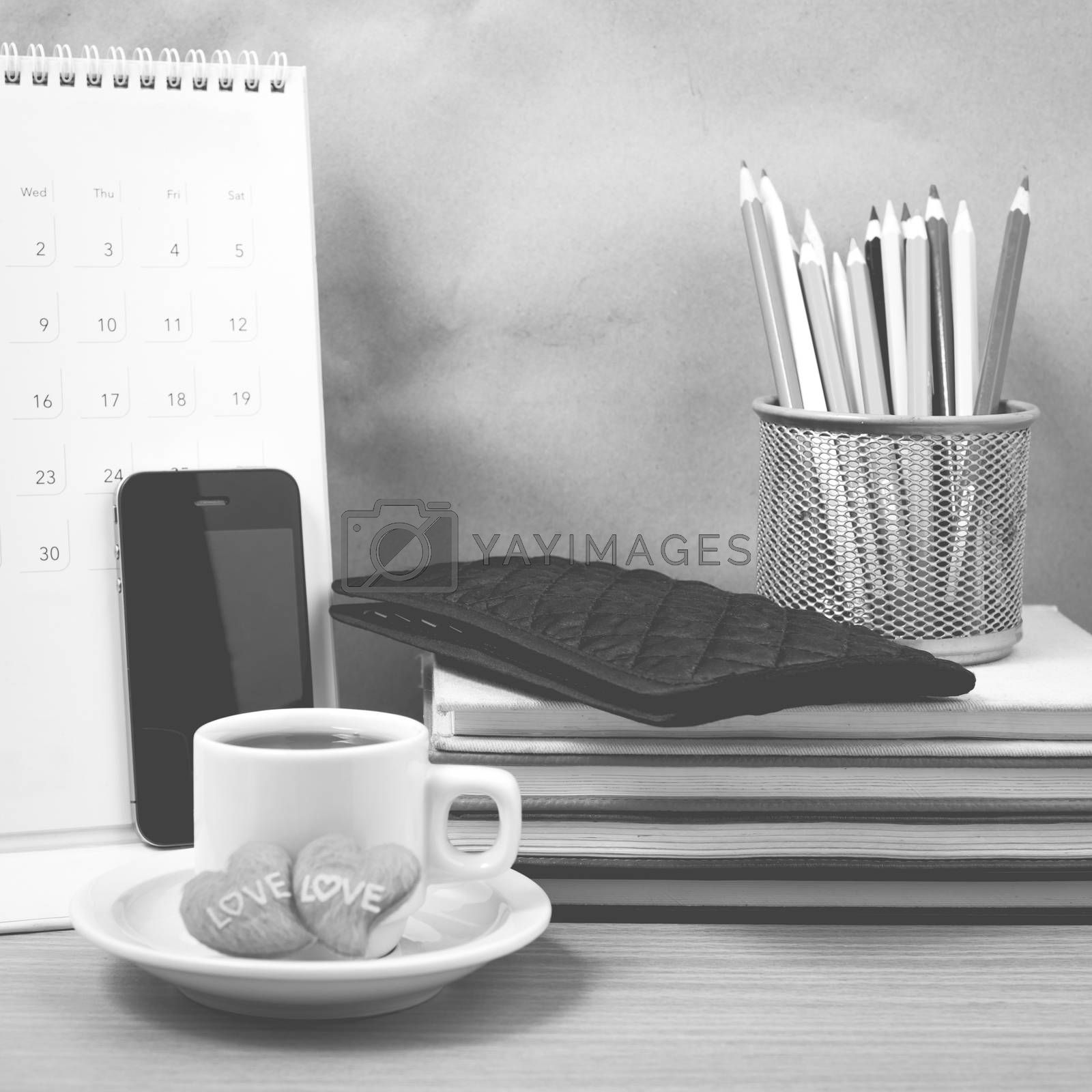 office desk : coffee with phone,wallet,calendar,heart,color penc by ammza12
