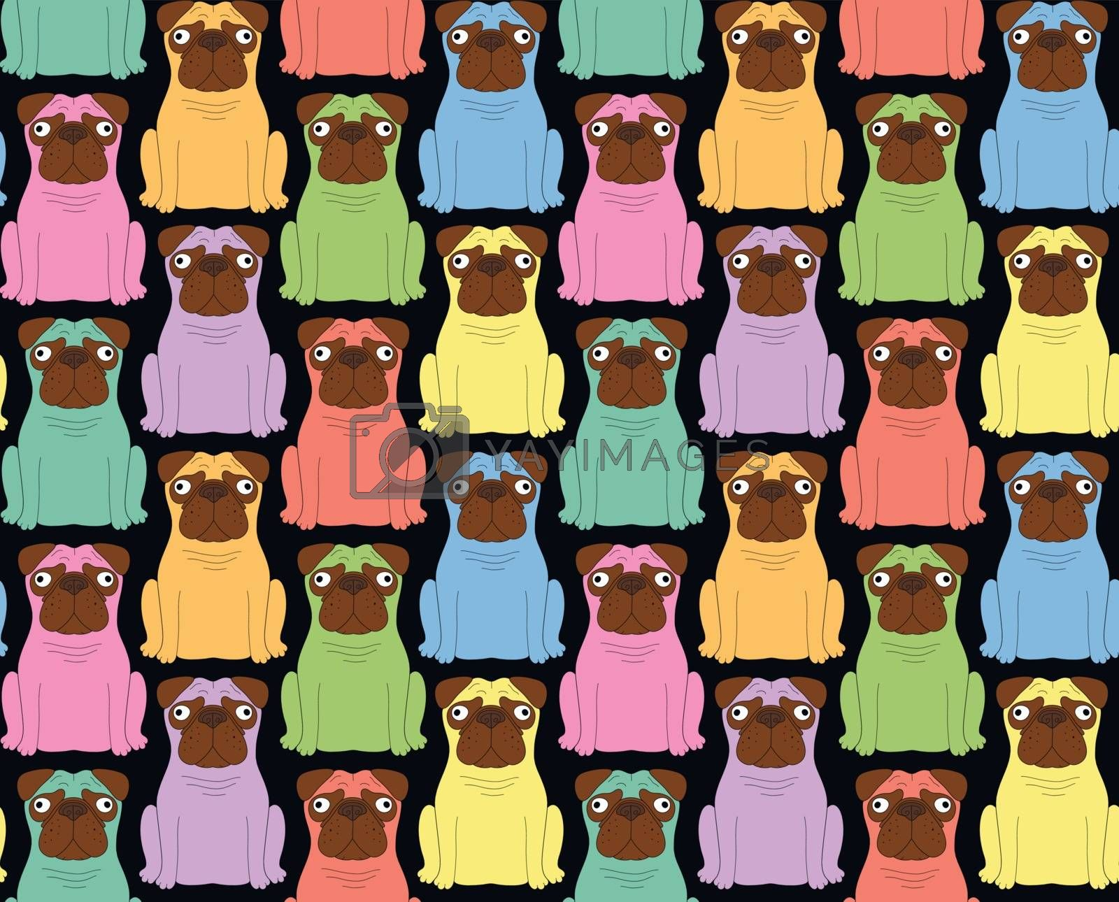 Funny colored dogs. Seamless background