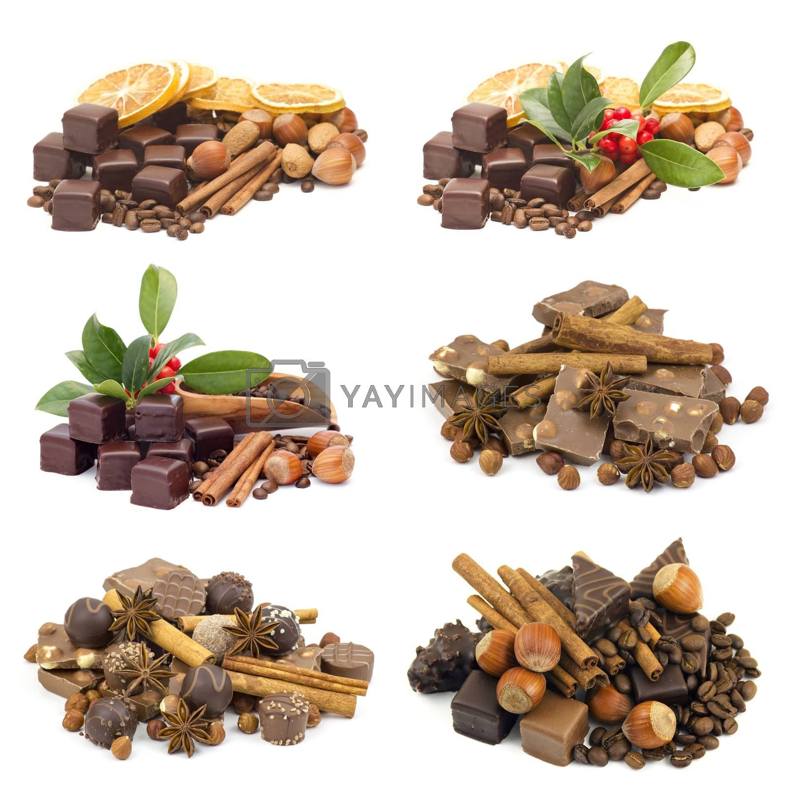 delicious chocolate on white background