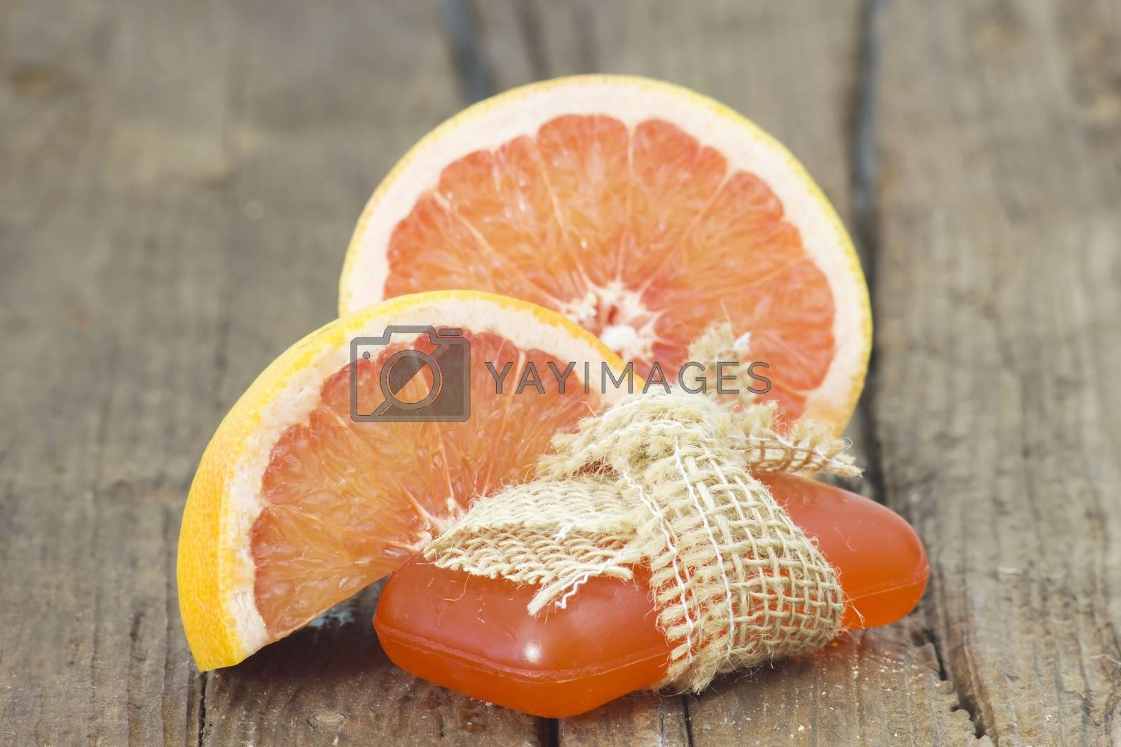 bar of glycerine soap and grapefruit