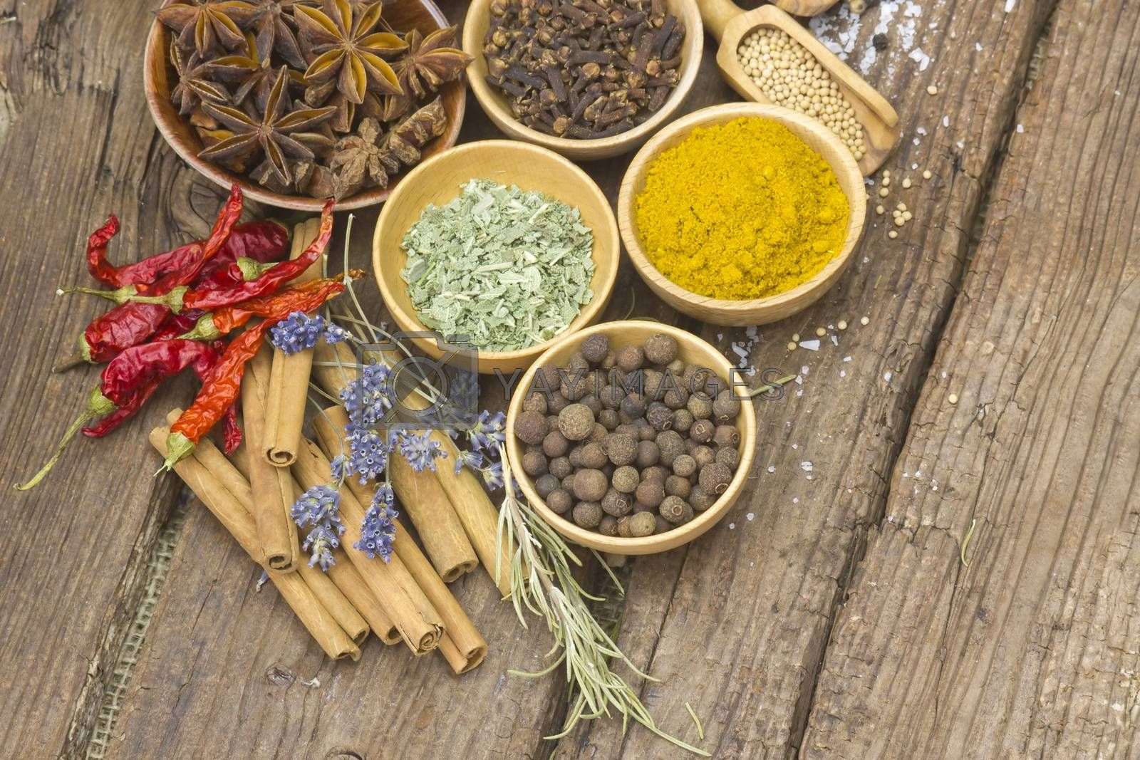 Variety of spices on wooden background