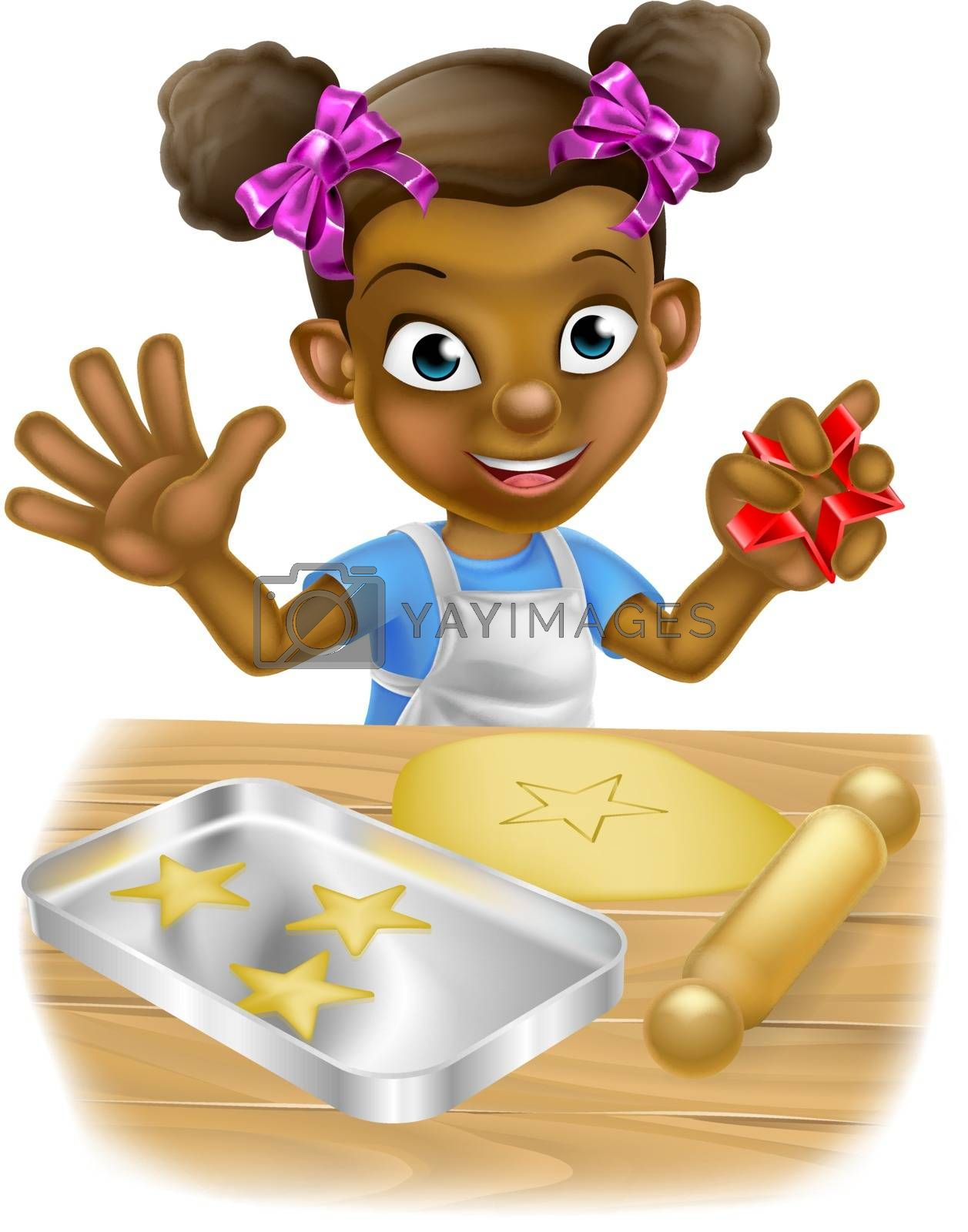 Happy little black girl child playing at being a baker baking cookies