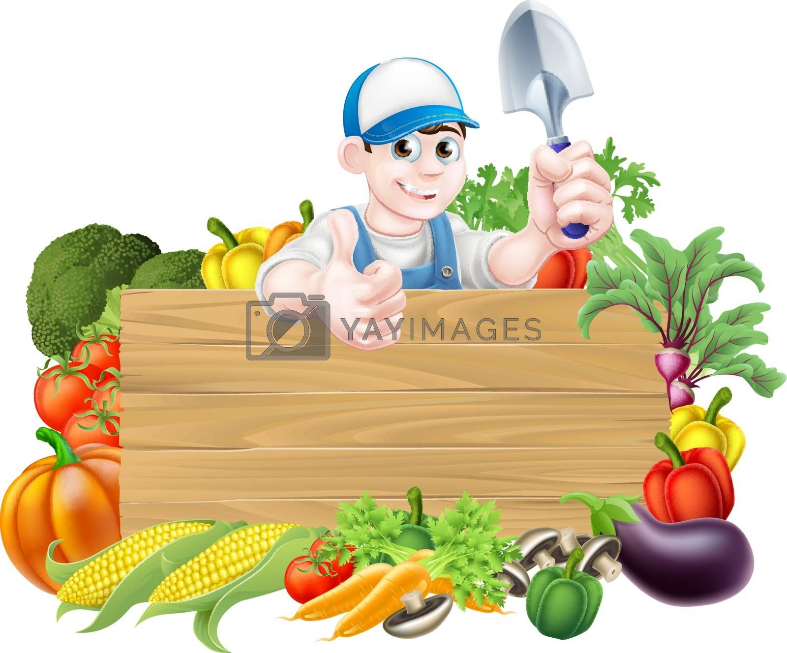 Gardener cartoon character holding a garden trowel hand spade tool and giving a thumbs up surrounded by vegetable produce