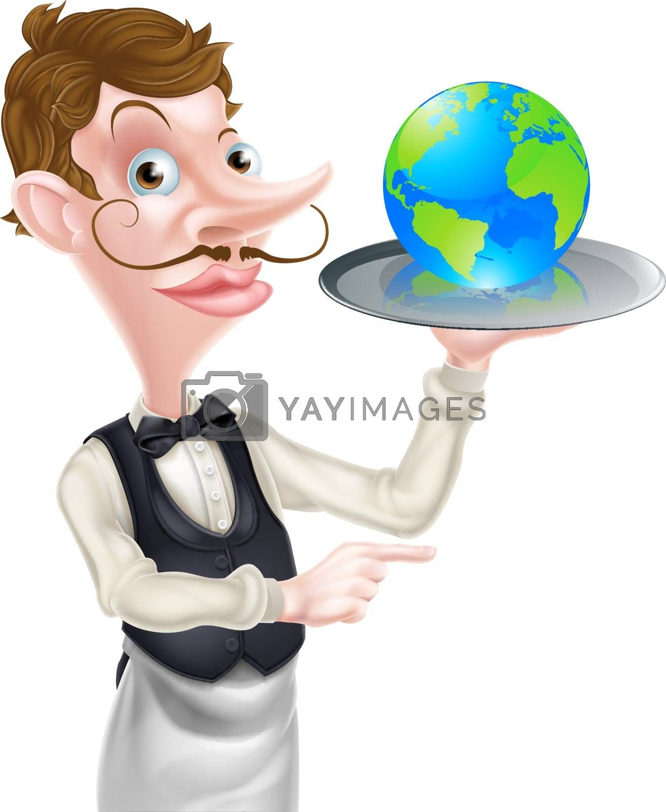 A cartoon waiter pointing and holding a tray with a world globe on it. could be a concept for world food