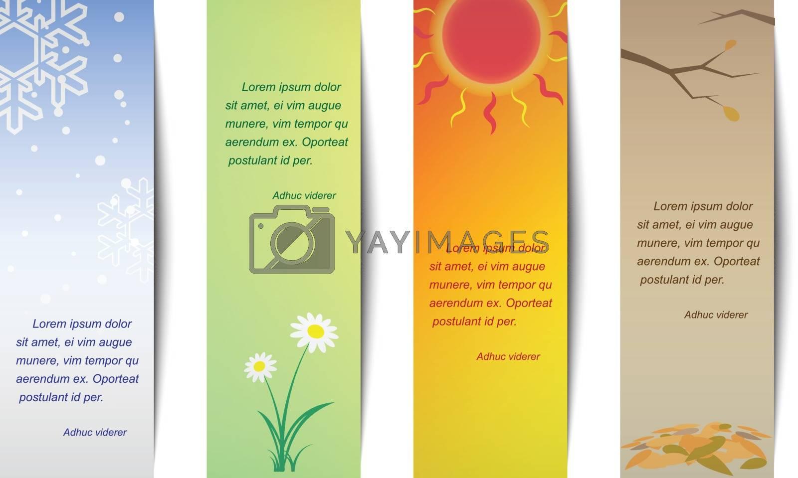 Vertical bookmark season. Spring, summer, autumn, winter