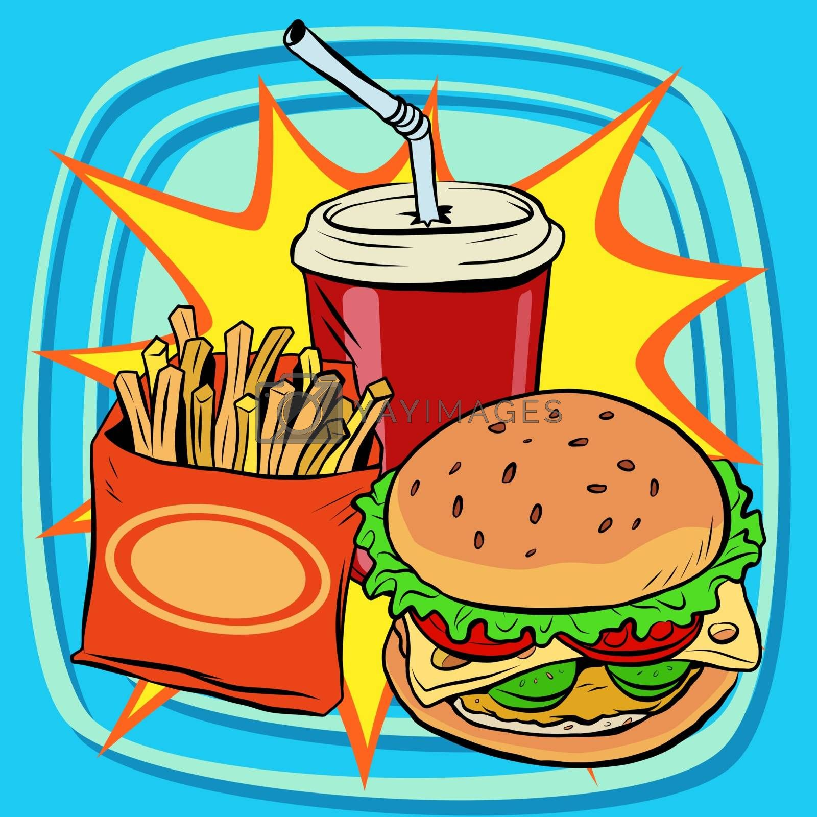 fast food fries burger drink cola pop art retro vector. Street restaurant. Nourishing food. Retro food