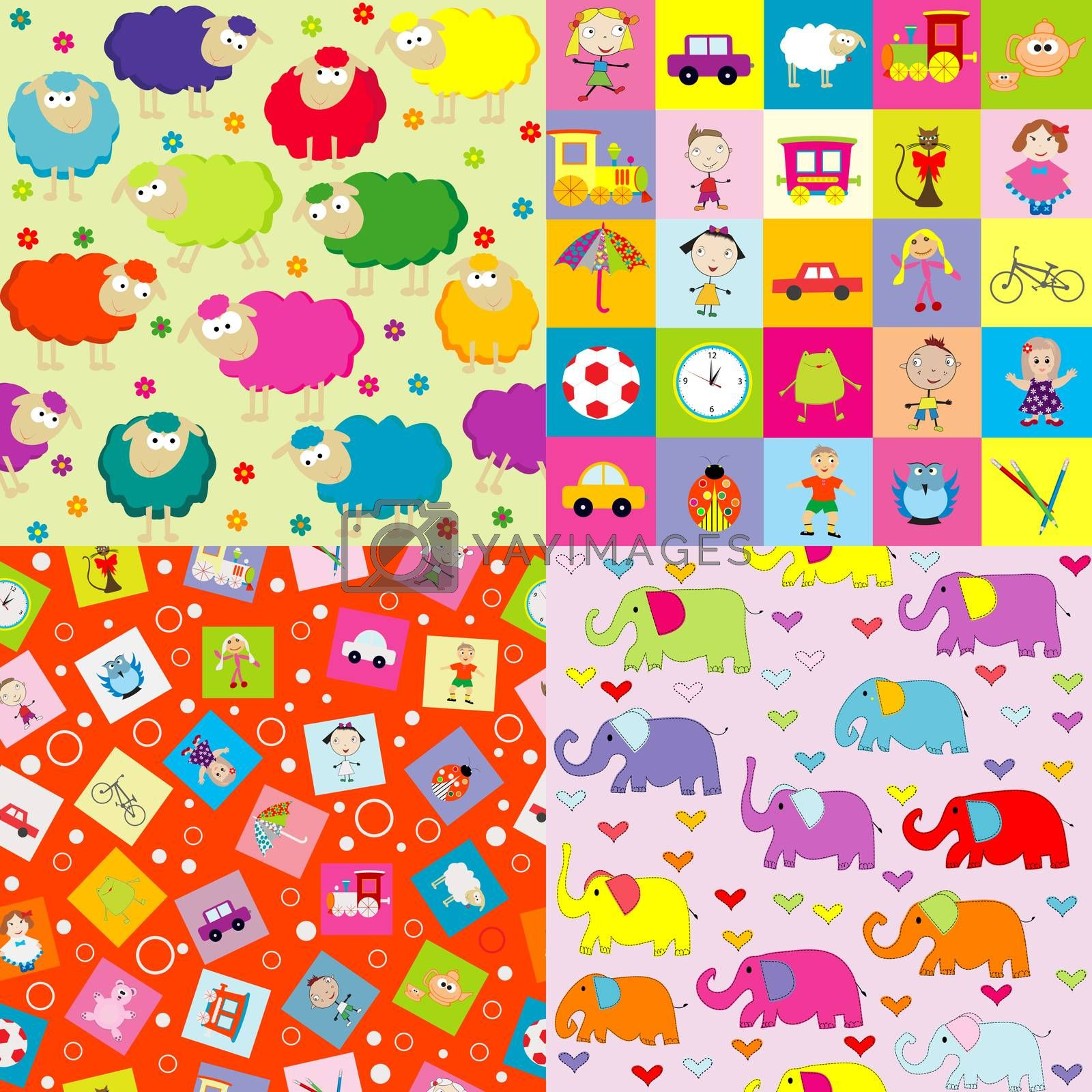 Collection of four backgrounds for kids