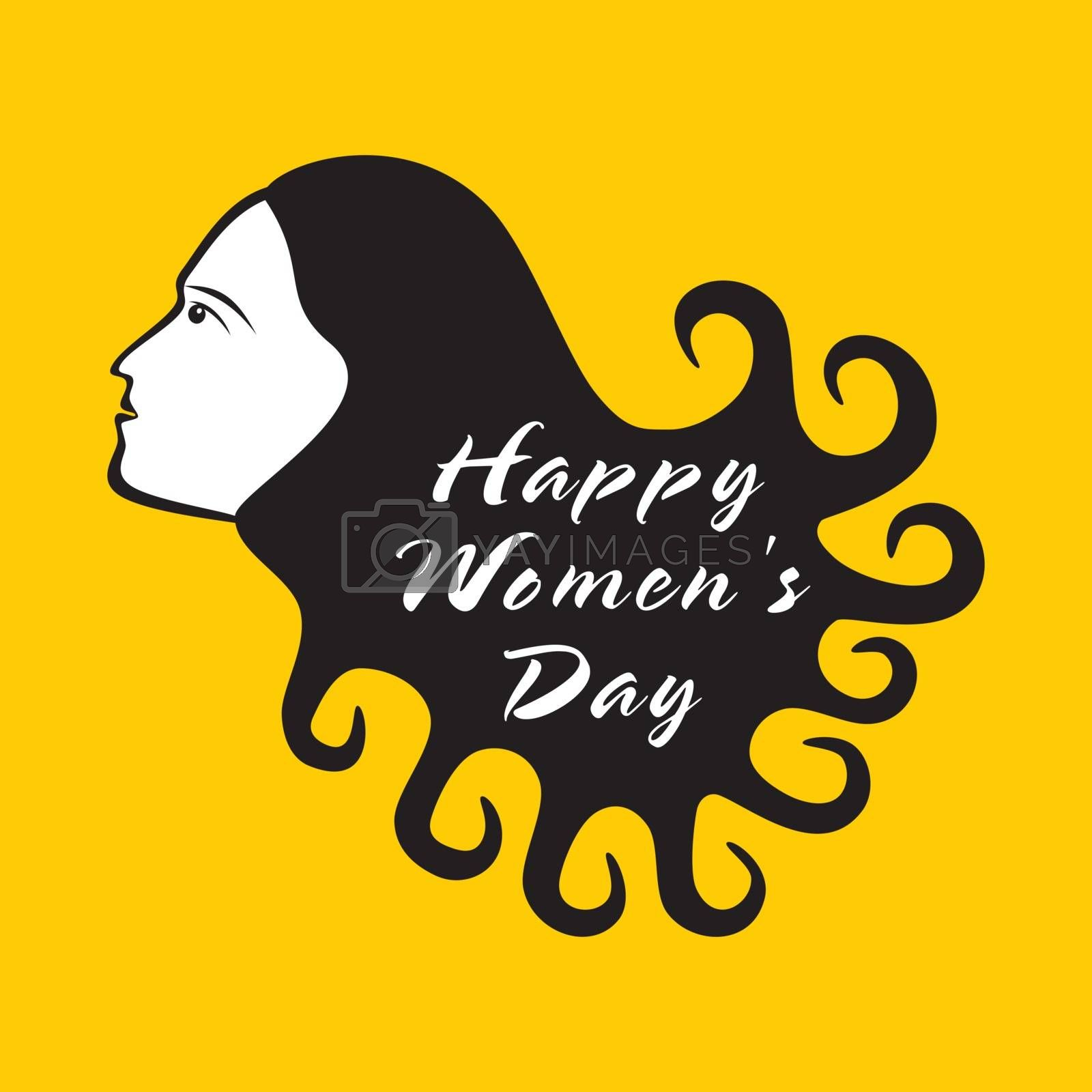 happy women day design , women with curly hair design vector