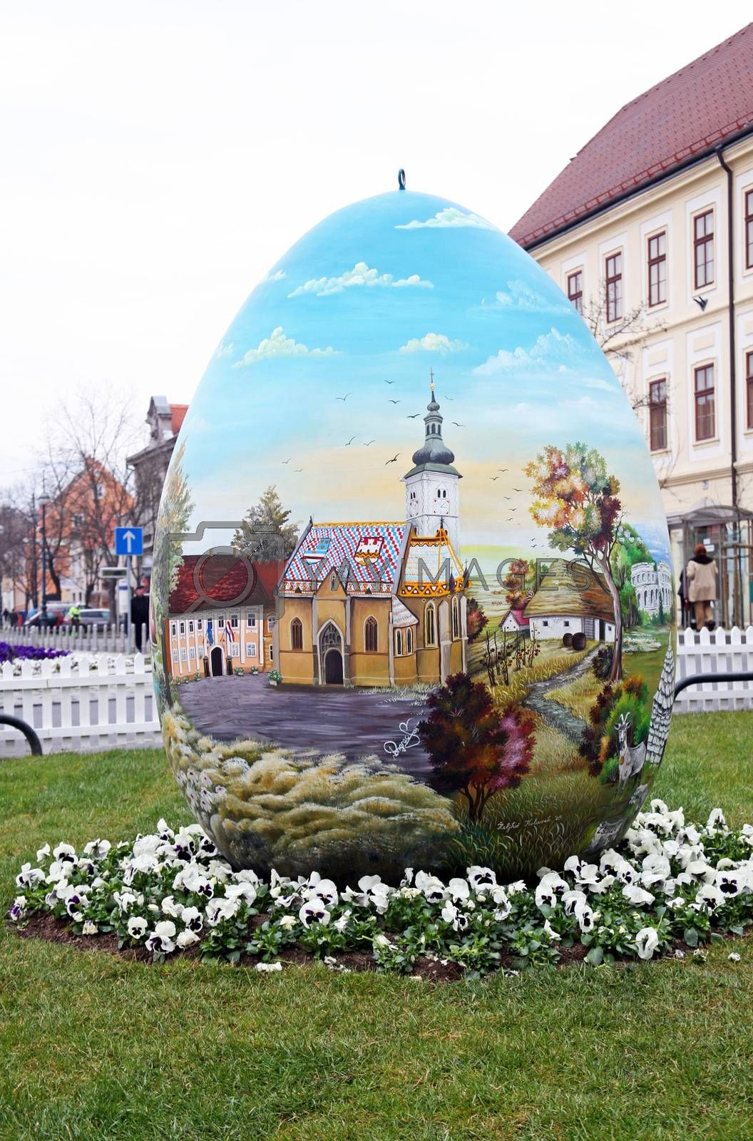 Big naive painted Easter eggs in front of the Cathedral,3,Zagreb,Croatia,EU,2016.