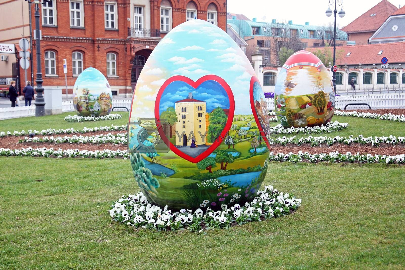 Big naive painted Easter eggs in front of the Cathedral,5,Zagreb,Croatia,EU,2016.